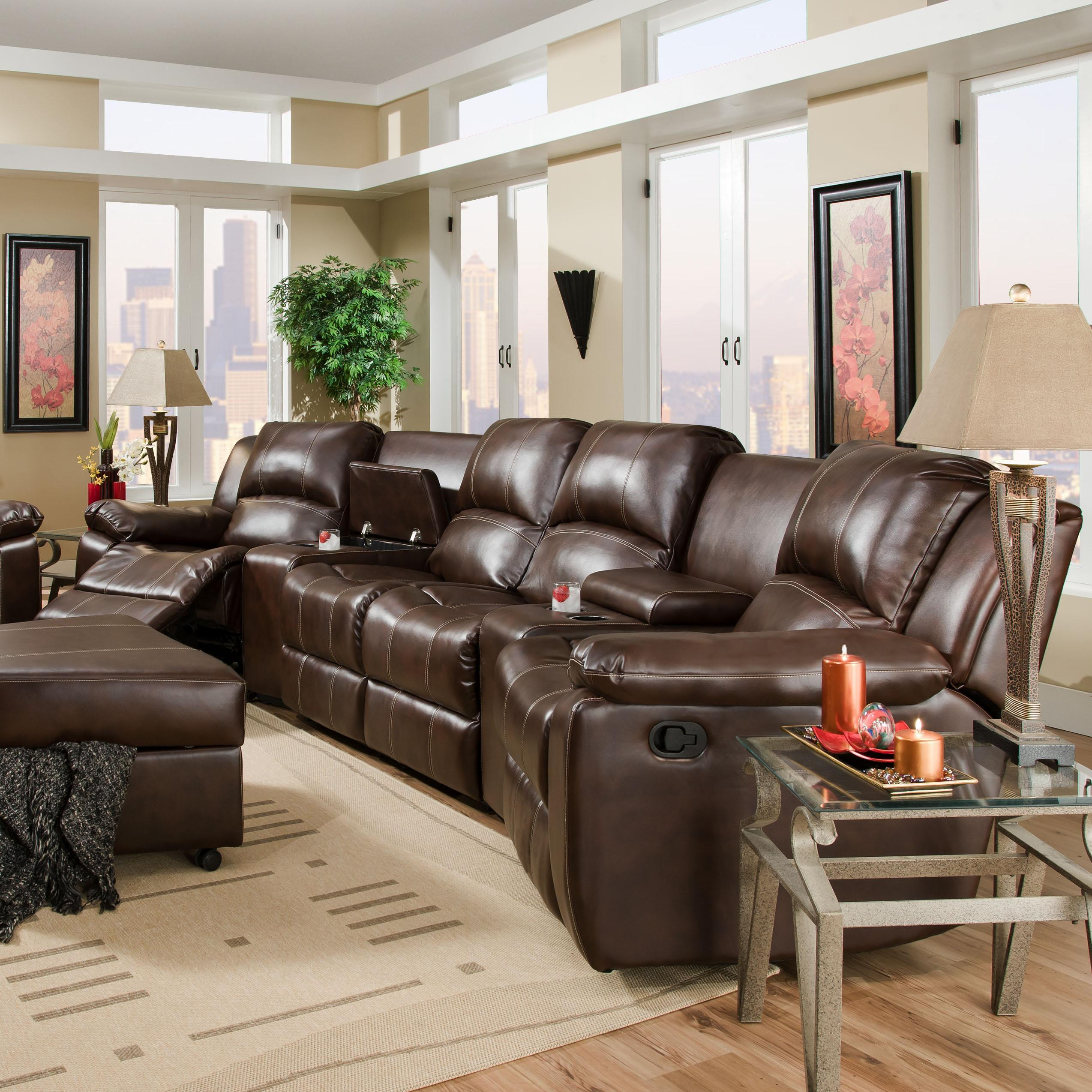 brady reclining theater seating with center loveseat belfort furniture reclining sectional sofas. Black Bedroom Furniture Sets. Home Design Ideas