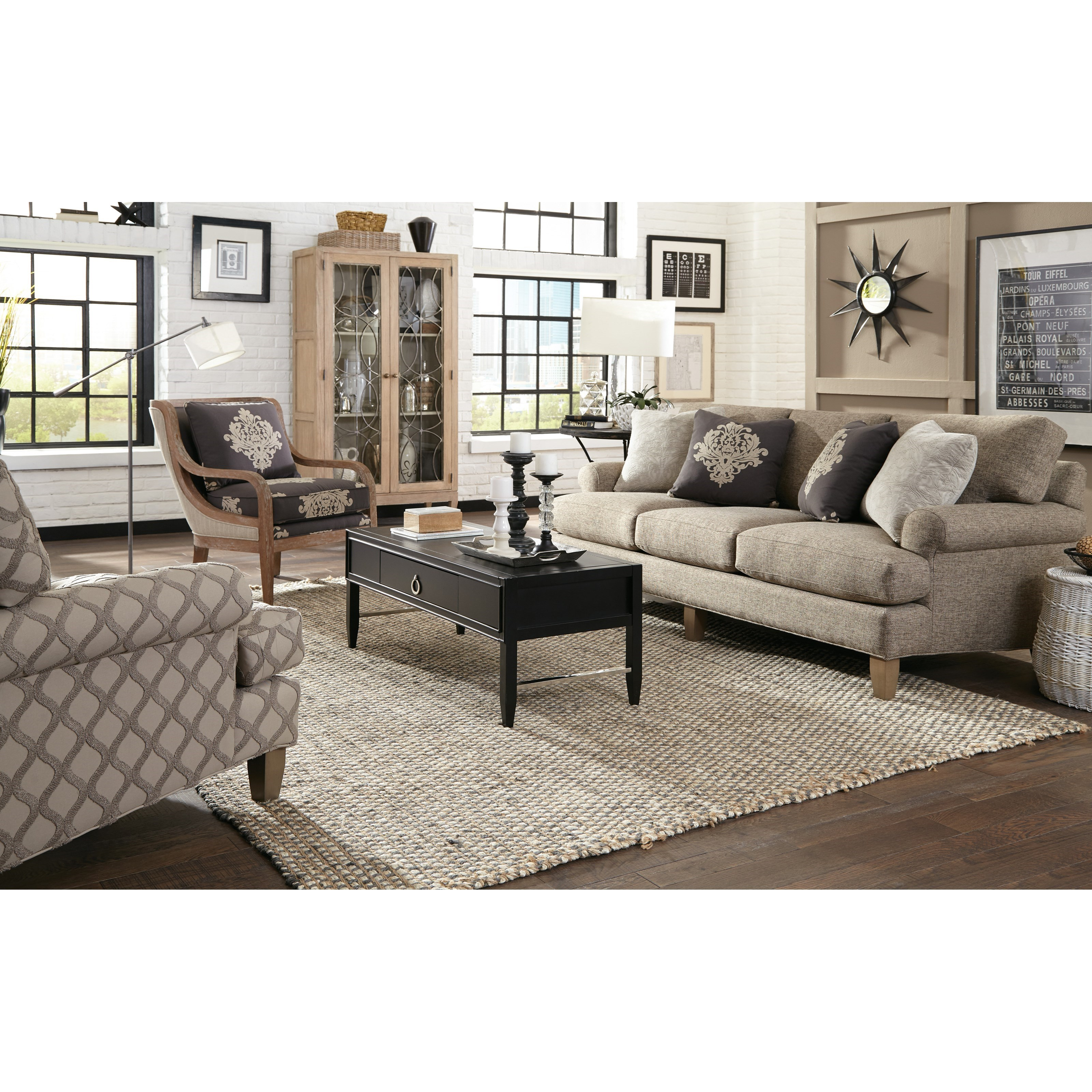 Craftmaster 067410 067510 Accent Chair With Exposed Wood Trim In Weathered Oak Miskelly