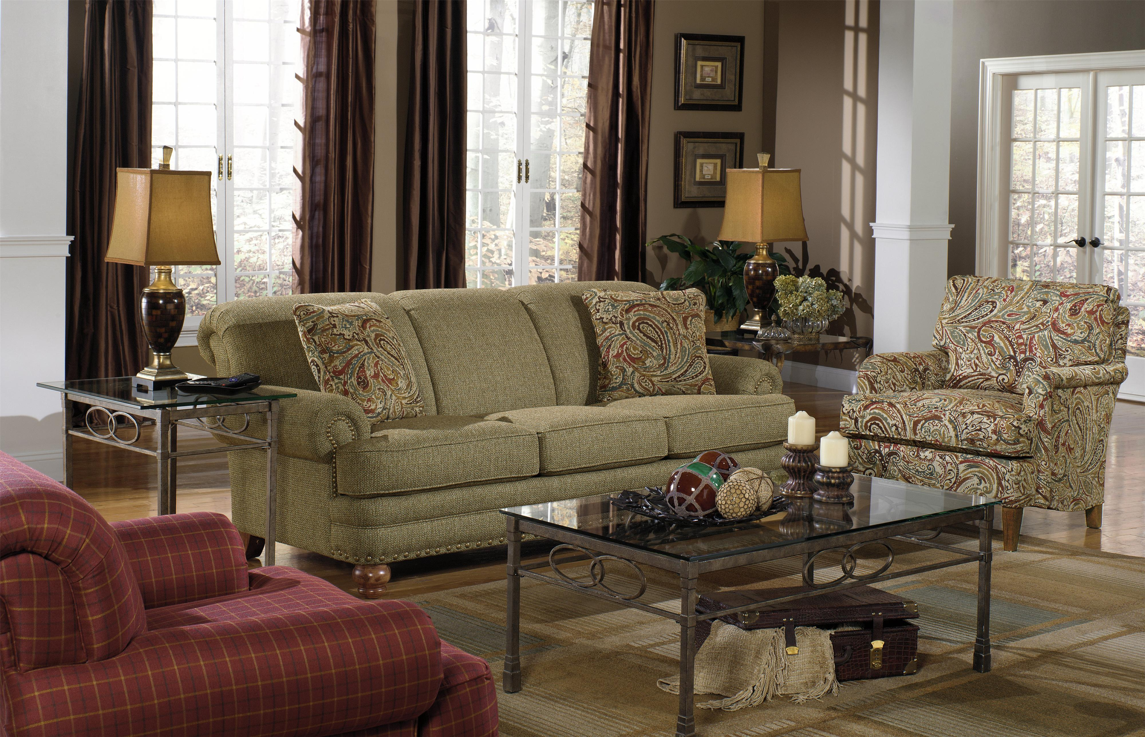 Craftmaster 7281 traditional sofa with rolled arms and for Traditional sofas with legs