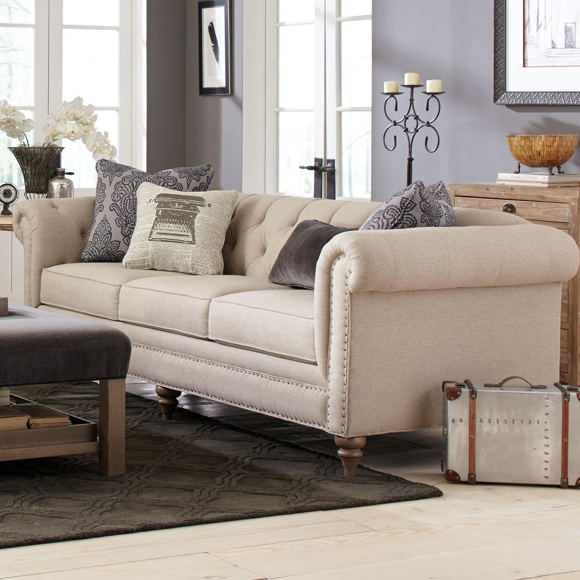 craftmaster emma large sofa with vintage tack nailheads belfort furniture sofas. Black Bedroom Furniture Sets. Home Design Ideas