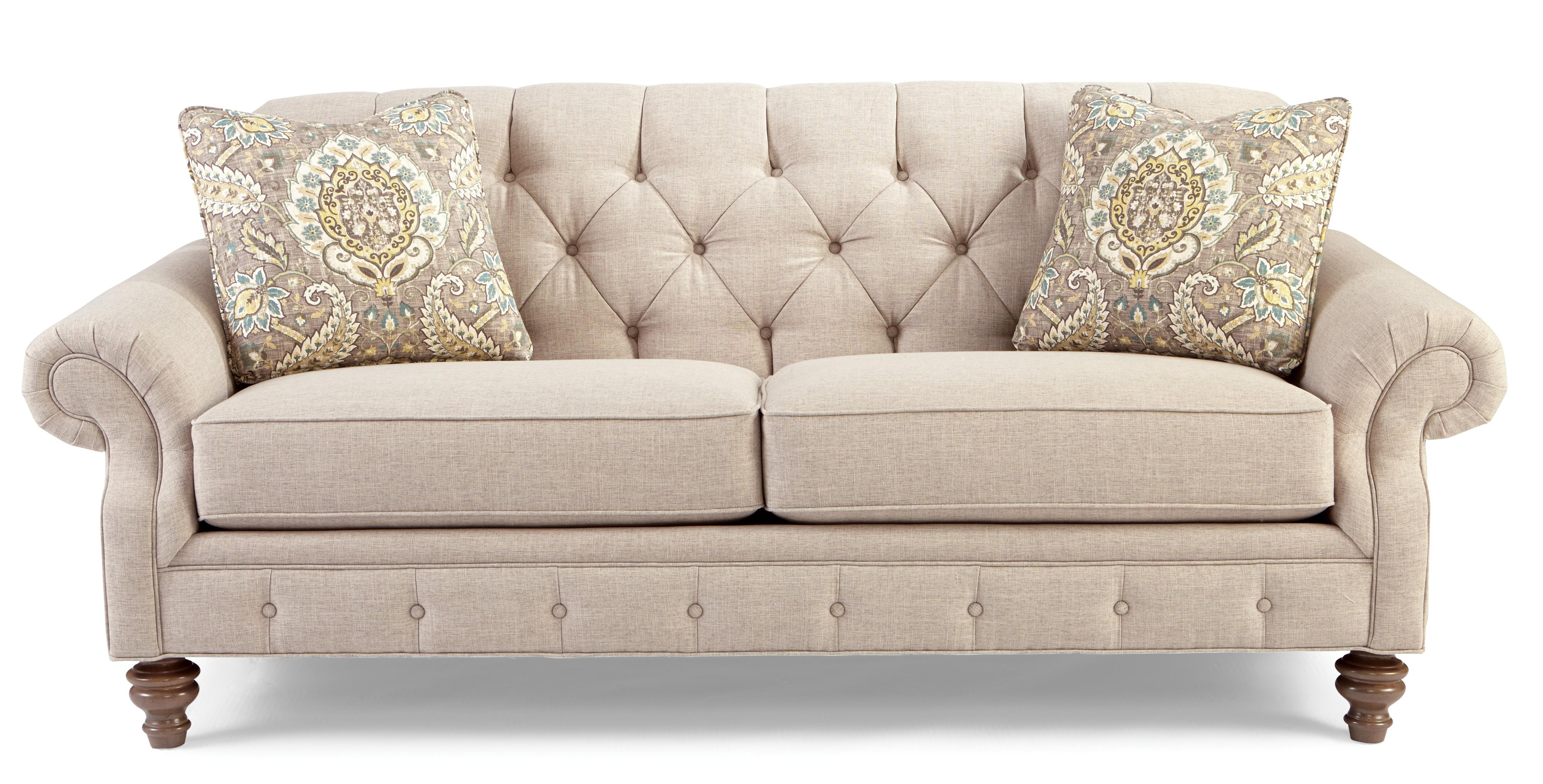 746300 traditional button tufted sofa with wide flared for Traditional couches