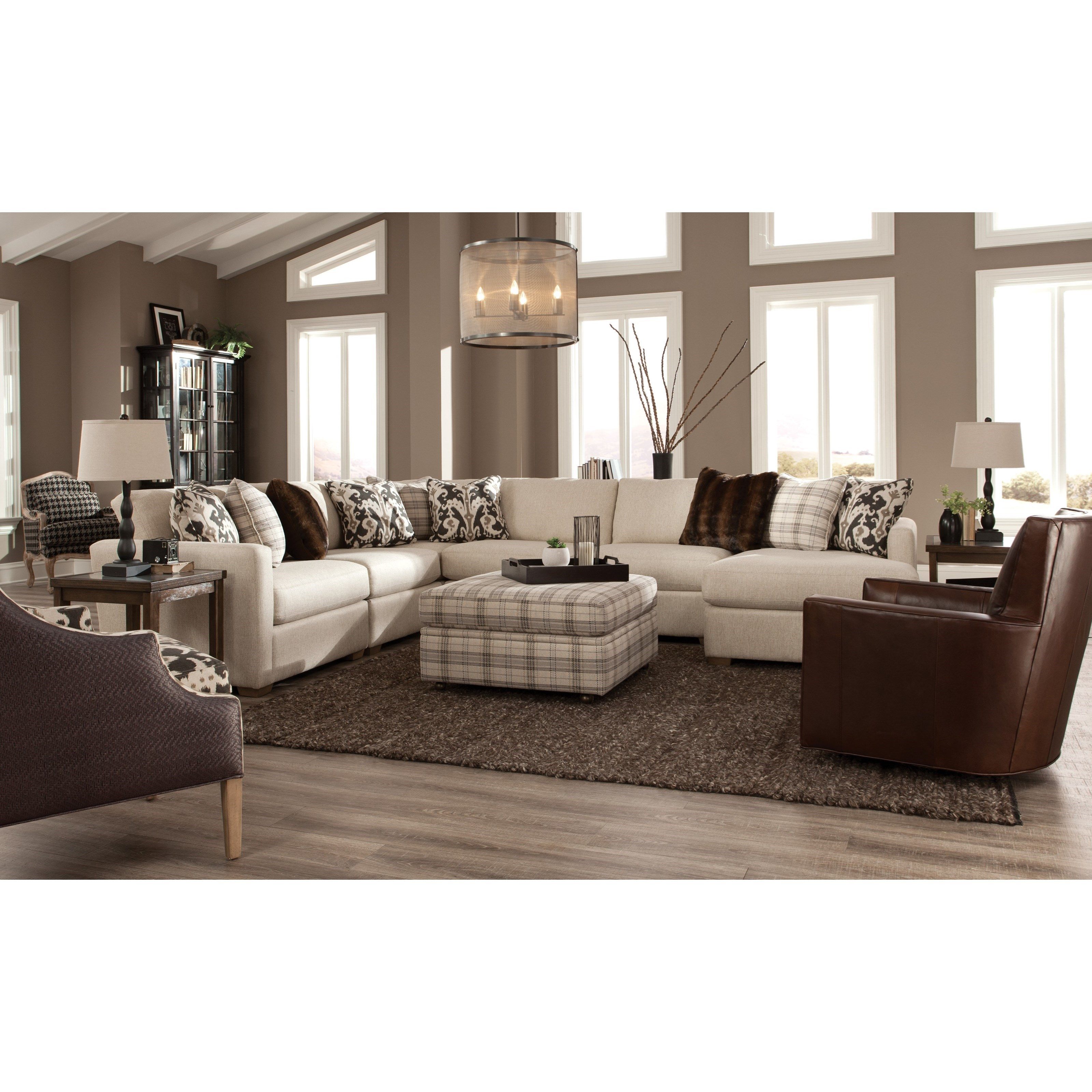 Craftmaster 751100 Five Piece Sectional With Raf Chaise Belfort Furniture Sectional Sofas