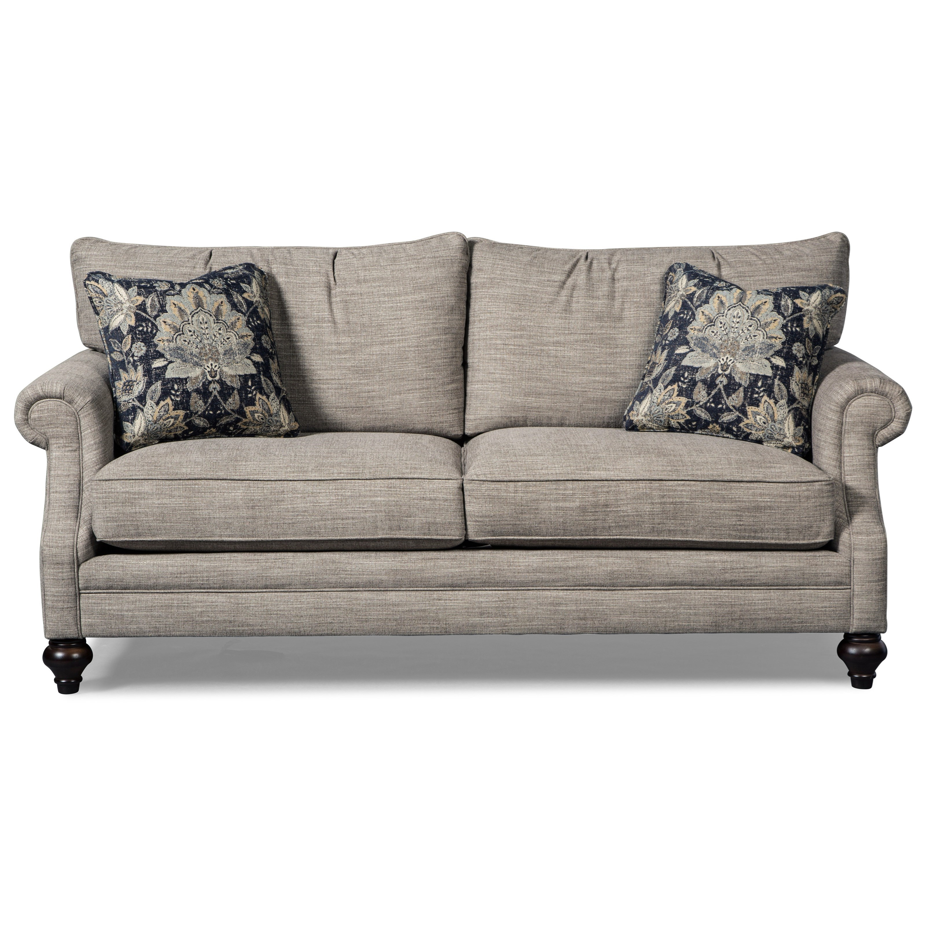 Craftmaster 7669 rolled arm sofa with traditional turned for Traditional sofas with legs