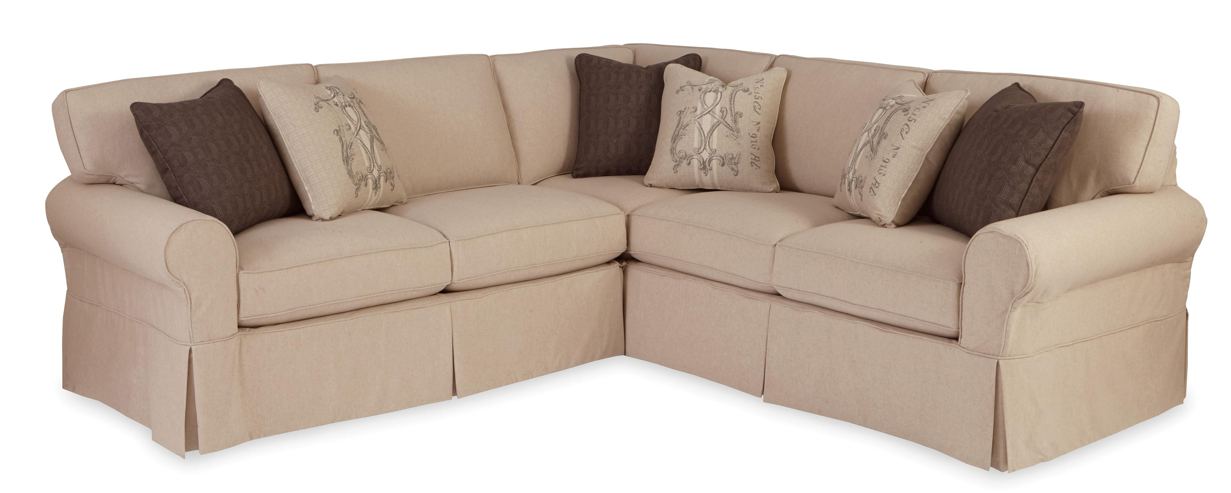 Two Piece Slipcovered Sectional Sofa with RAF