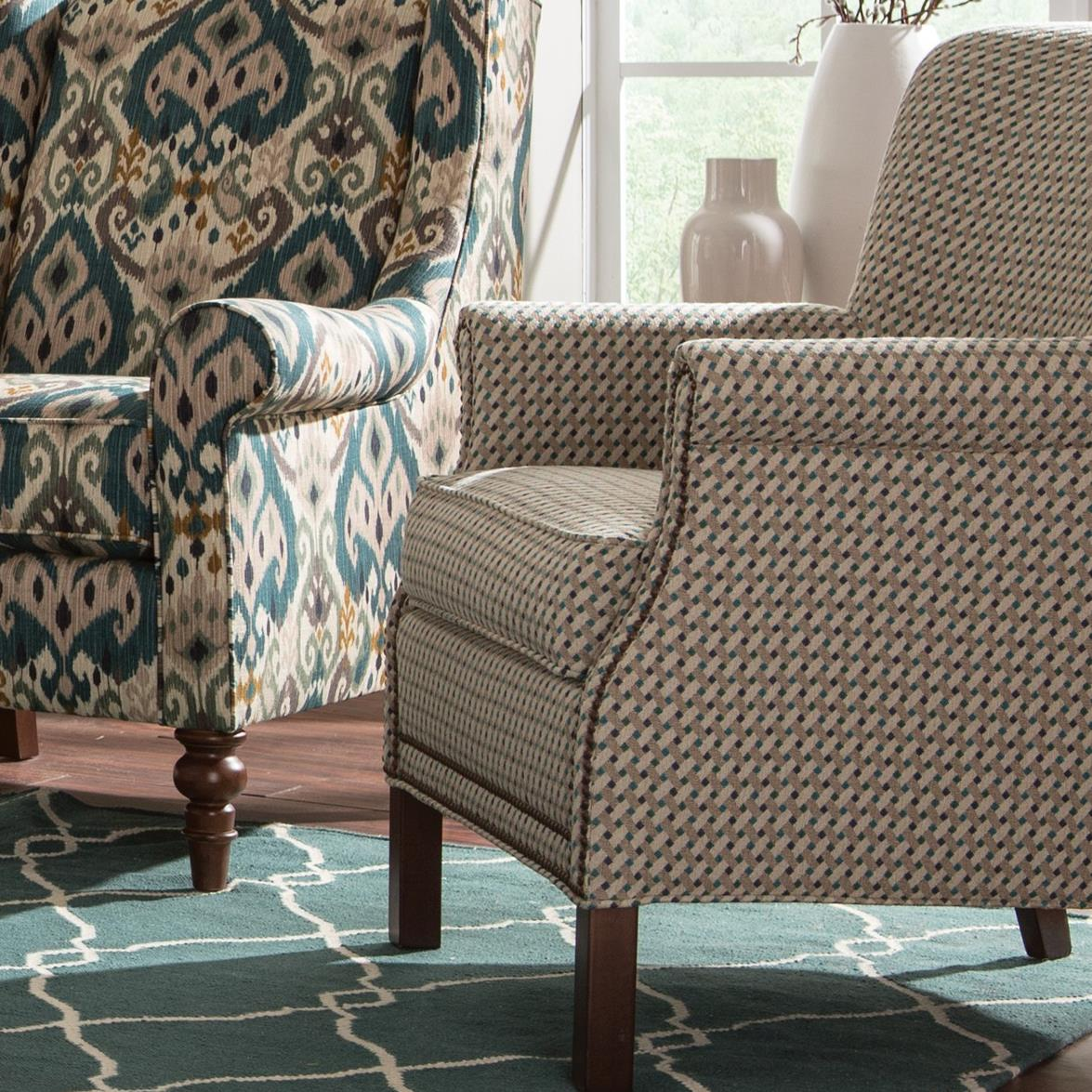 Craftmaster Accent Chairs Transitional Rolled Arm Accent Chair With Nailhead Trim Belfort