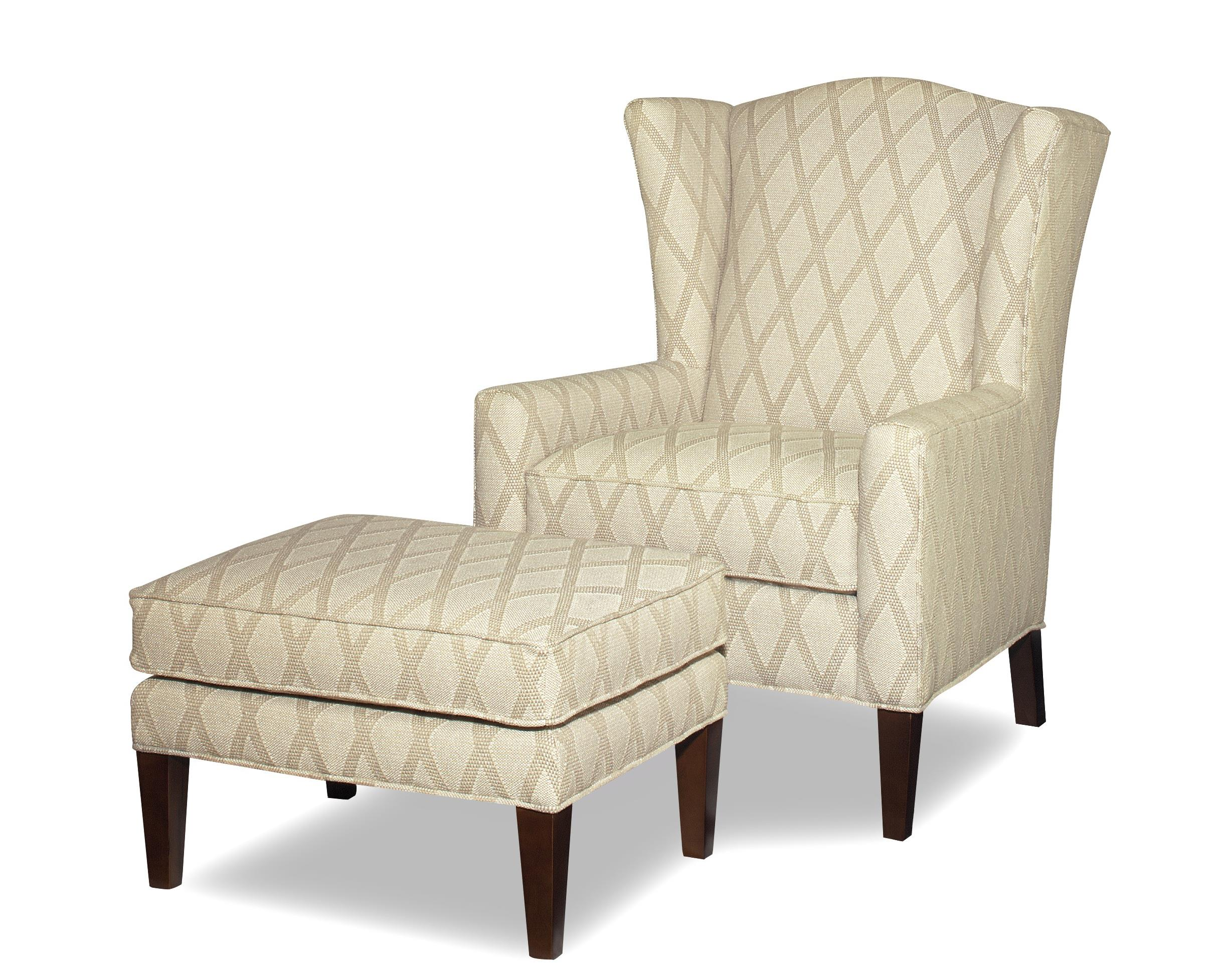accent chairs wing chair and ottoman with wide flared wings by craftmaster wolf furniture. Black Bedroom Furniture Sets. Home Design Ideas