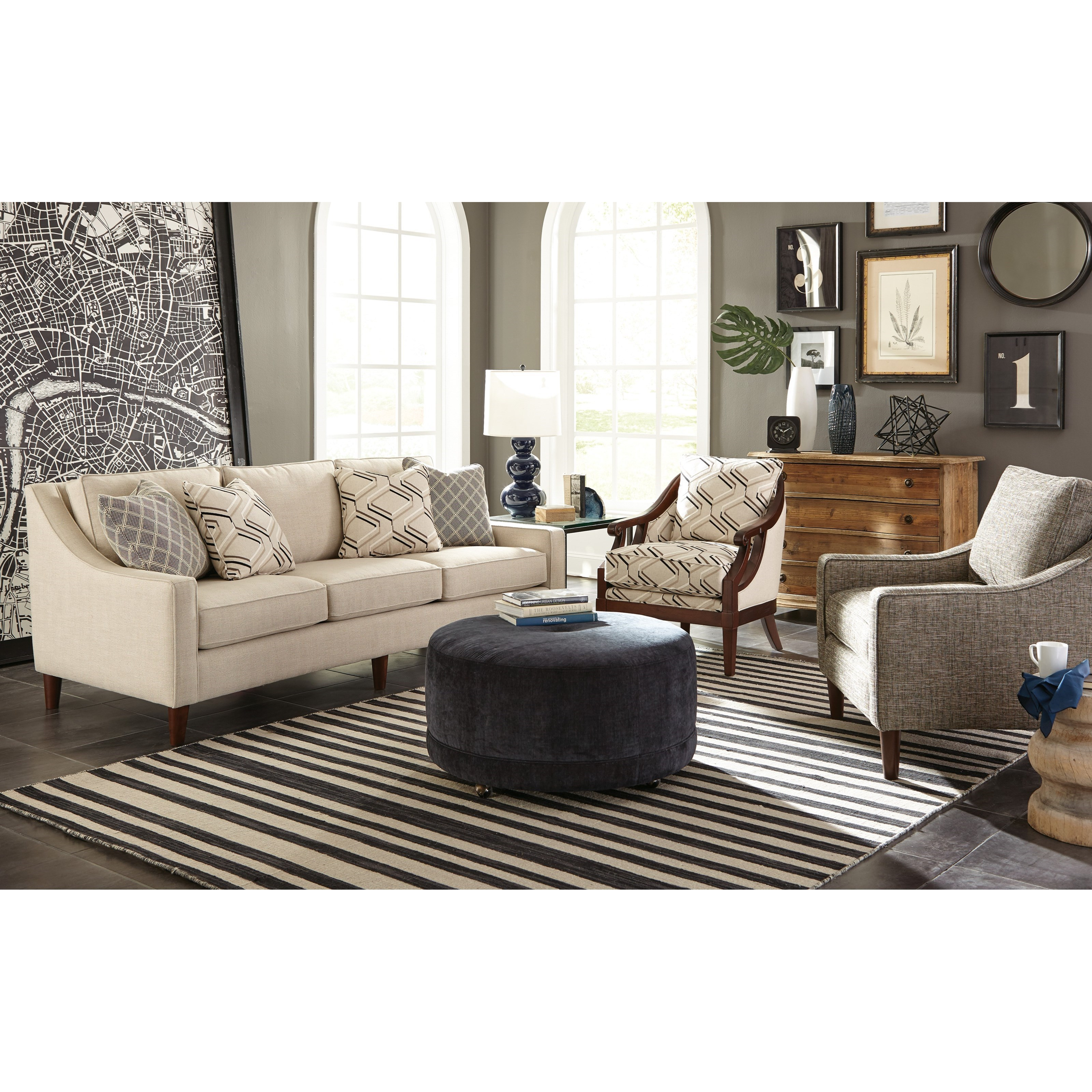 Craftmaster Accent Ottomans Round Contemporary Ottoman With Casters Miskelly Furniture Ottomans