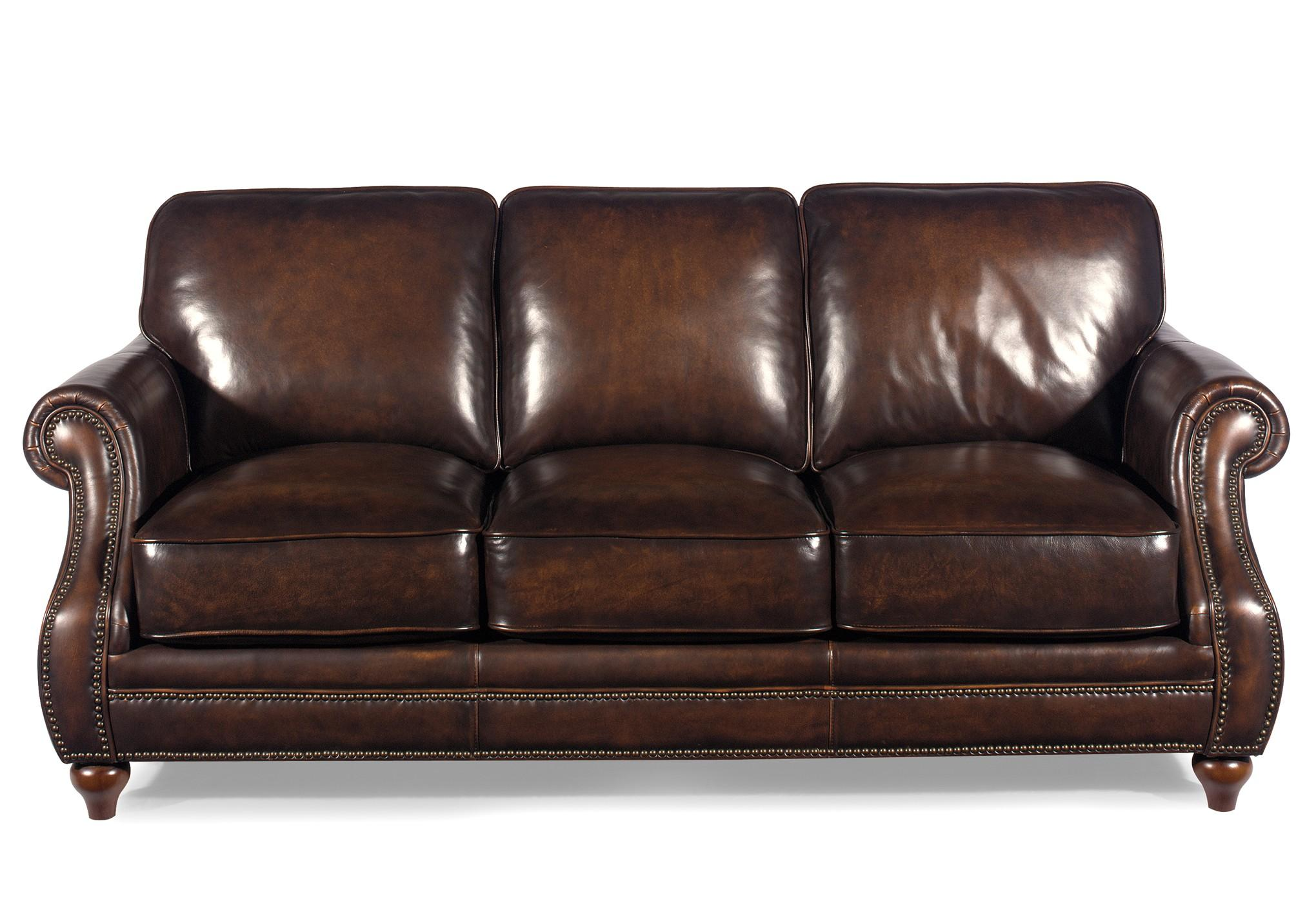 Traditional leather sofa with rolled arms and nailhead trim for Traditional leather sofas furniture