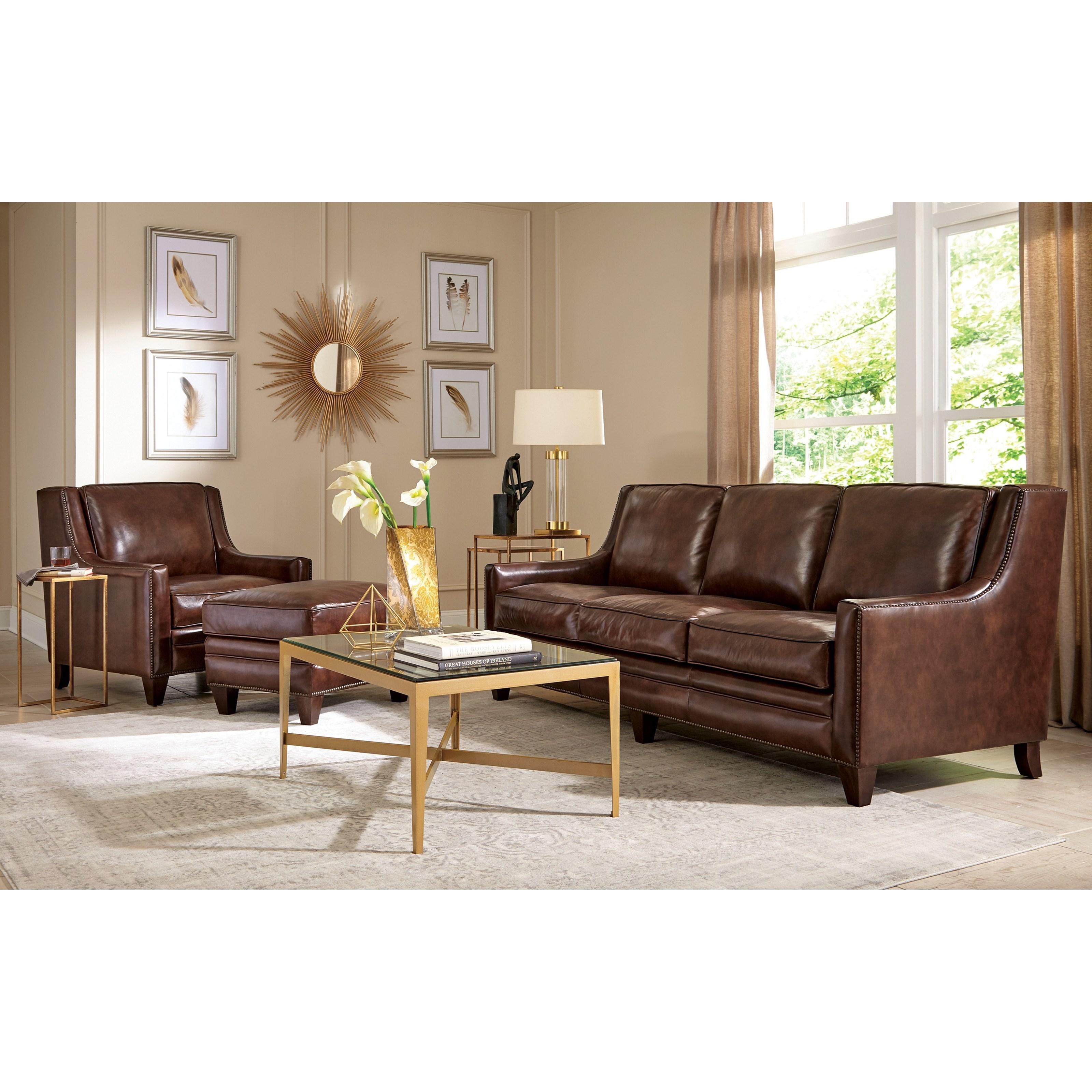 Craftmaster l162550 transitional nailhead studded sofa for Studded sofa sets