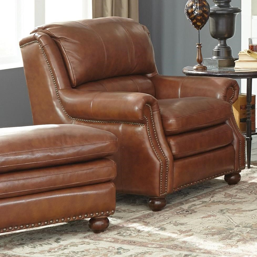 Craftmaster L164650 Traditional Leather Chair And Ottoman