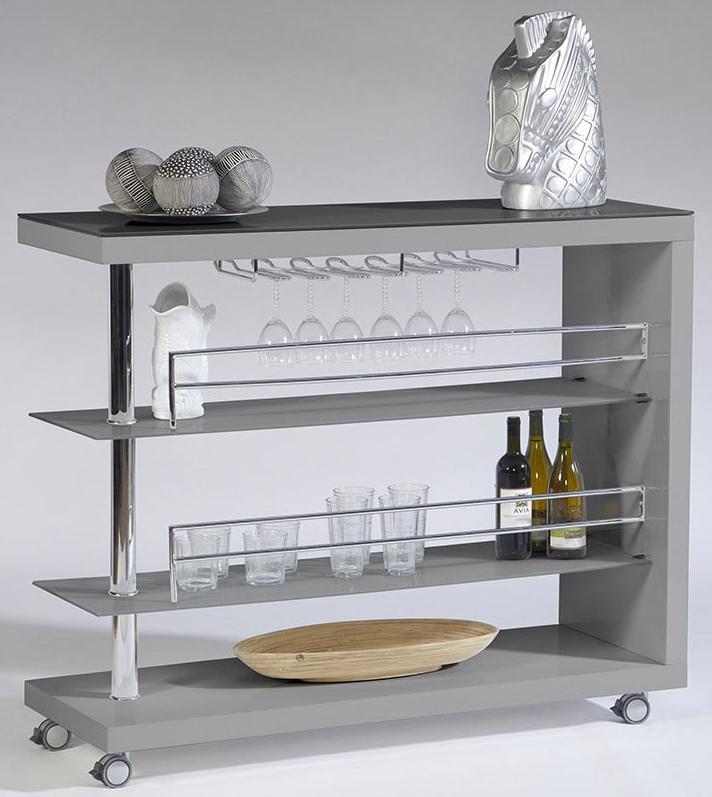 Cramco Inc Bolero Contemporary Bar Cart W Stem Glass