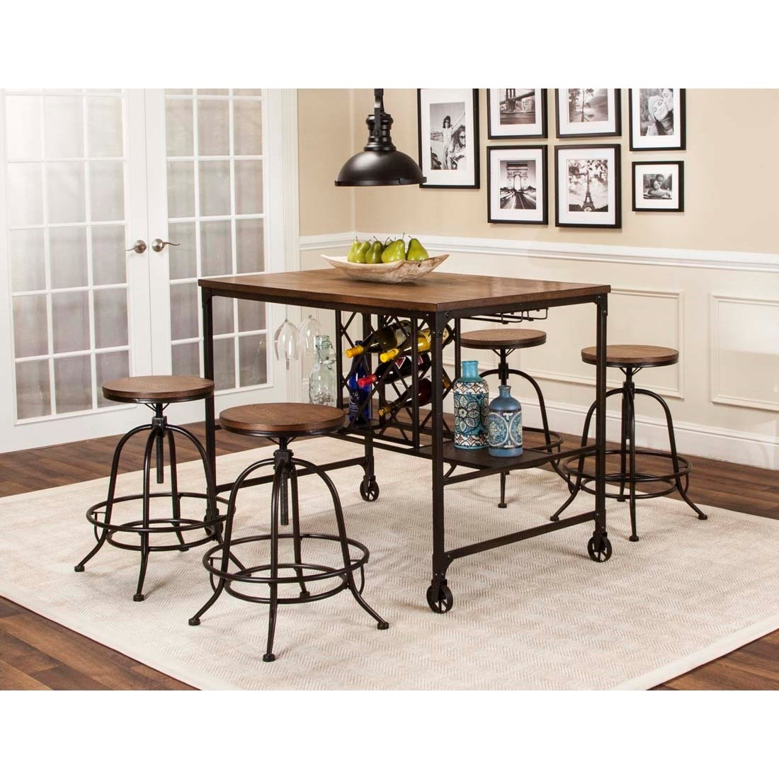 Cramco Inc Craft 5 Piece Counter Height Storage Table and