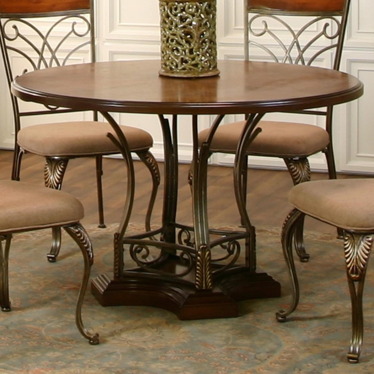 cramco inc harlow transitional 48 round metal wood table value city furniture kitchen table. Black Bedroom Furniture Sets. Home Design Ideas