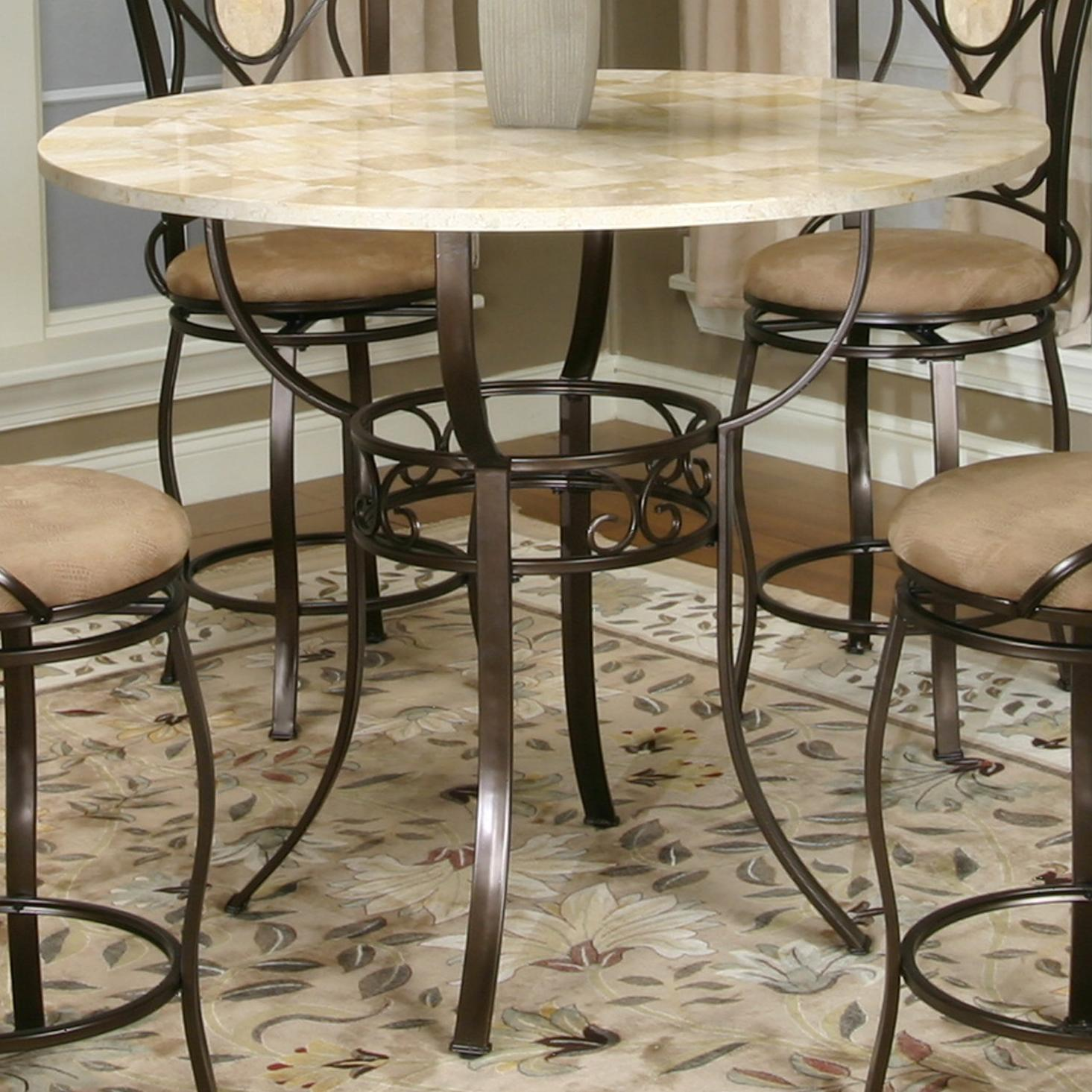 Counter Height Round Pub Table : ... Bronze Counter Height Pub Table with Round Glacier Inlaid Marble Top