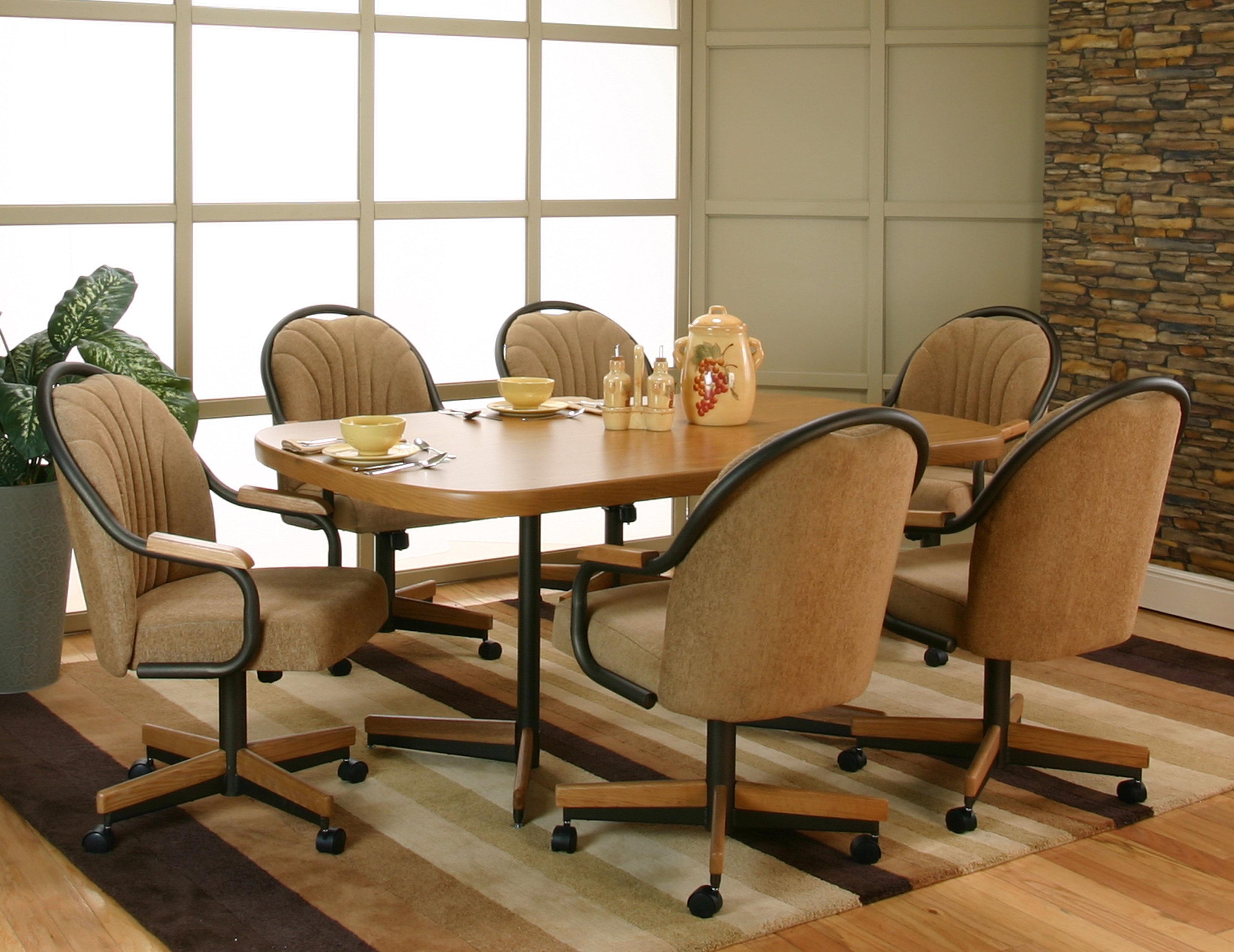 cramco inc shaw bow end sunset oak laminate dining table with 6 harvest upholstered tilt swivel. Black Bedroom Furniture Sets. Home Design Ideas