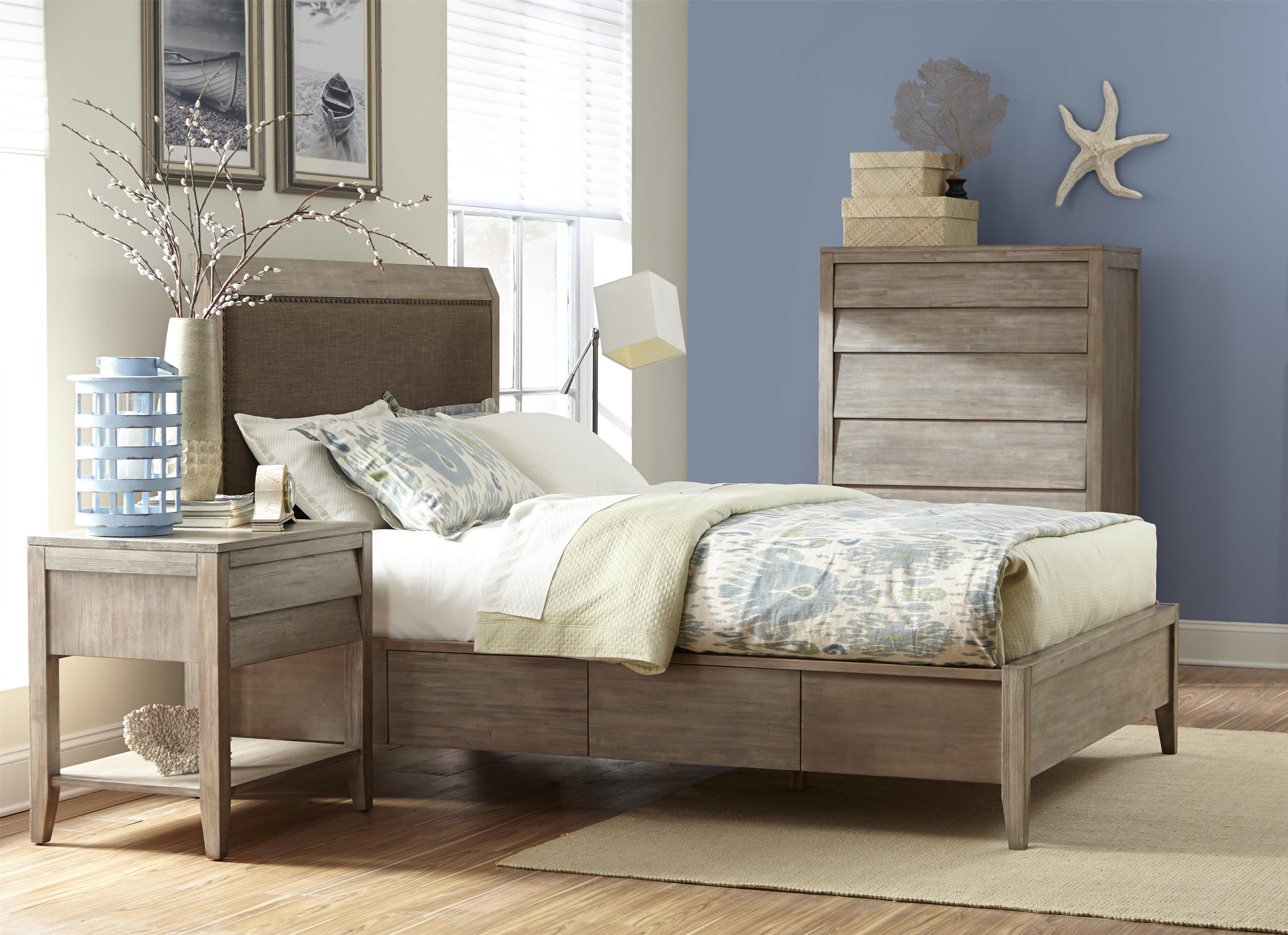cresent fine furniture corliss landing queen upholstered low profile bed w storage ahfa. Black Bedroom Furniture Sets. Home Design Ideas