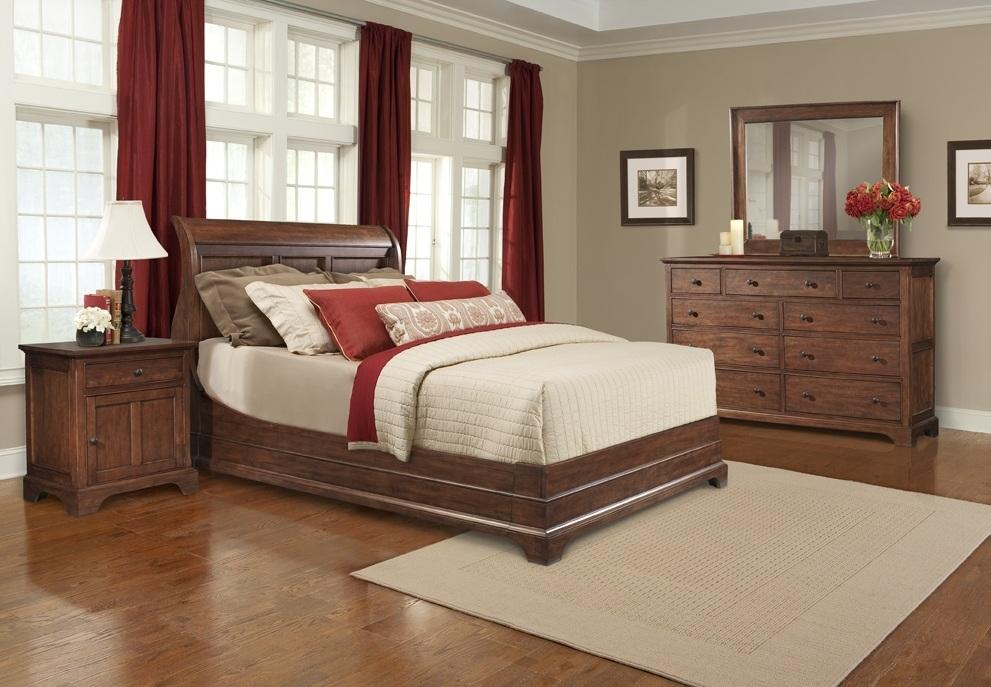 Cresent Fine Furniture Retreat Cherry Queen Casual Cherry Sleigh Bed With Decorative Panels