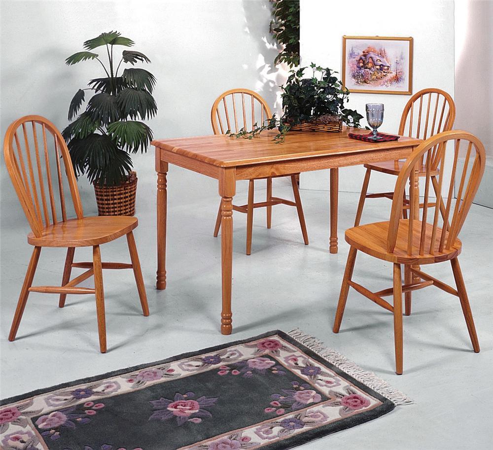 crown mark farmhouse 2302l oak 4x2304l oak rectangular leg table and slat back chair set dunk. Black Bedroom Furniture Sets. Home Design Ideas