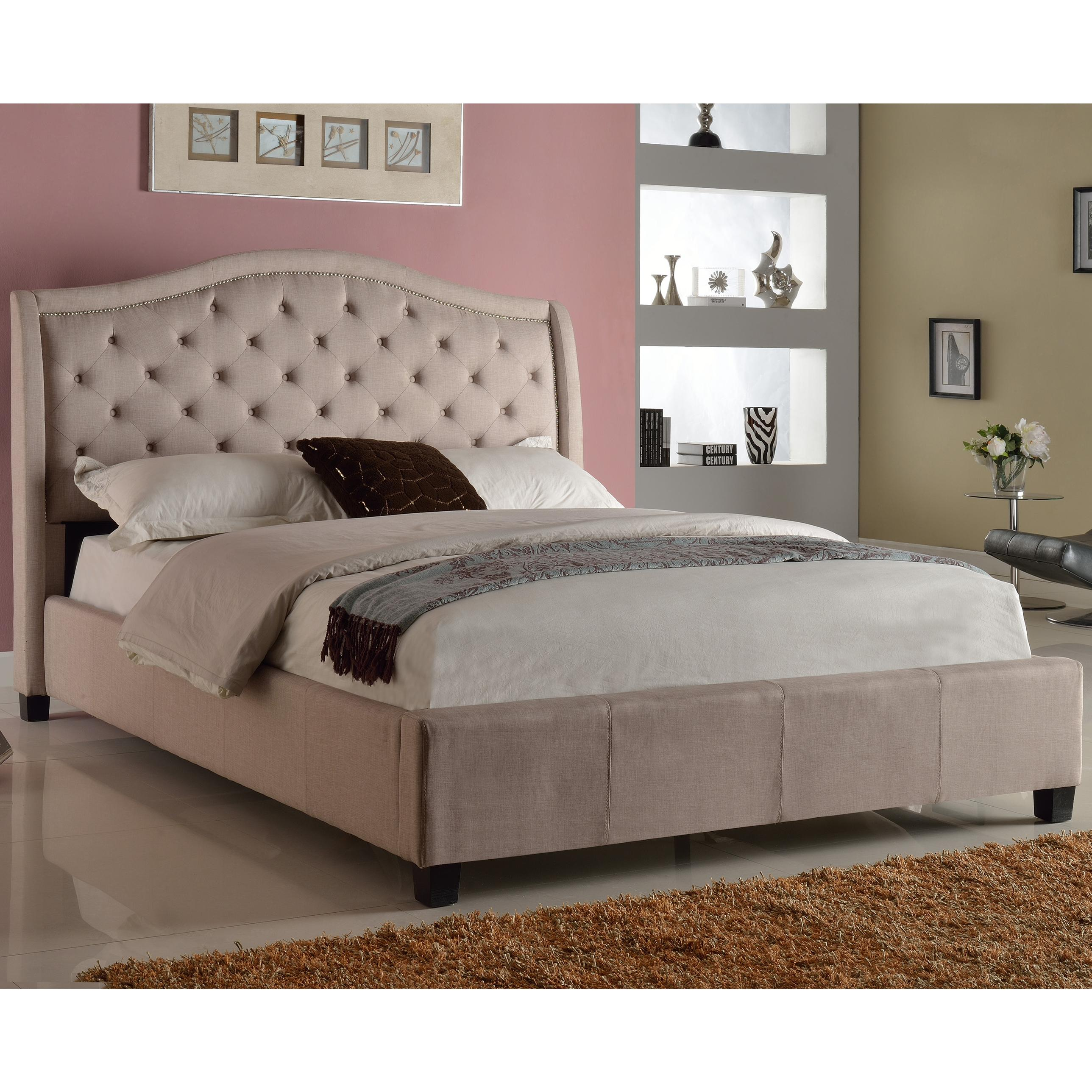 Crown Mark Addison Upholstered King Bed With Tufted