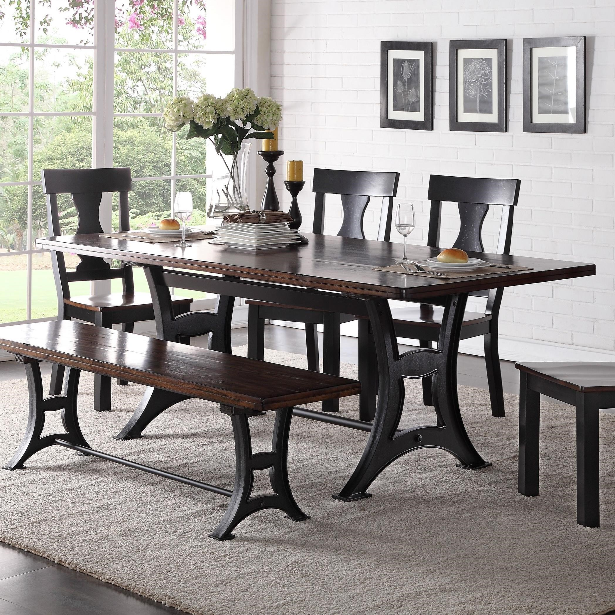 Crown mark astor industrial dining table with trestle base for Astor dining table