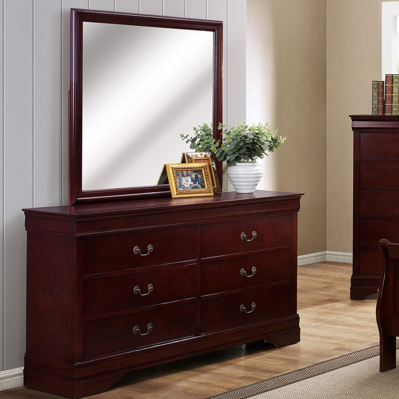 Crown mark b3800 louis phillipe 6 drawer dresser with for Bedroom bureau knobs