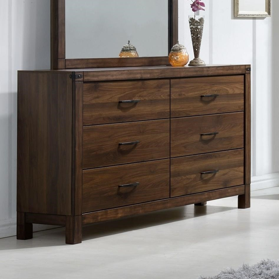 Crown mark belmont b3100 1 six drawer dresser with rustic for Furniture markup