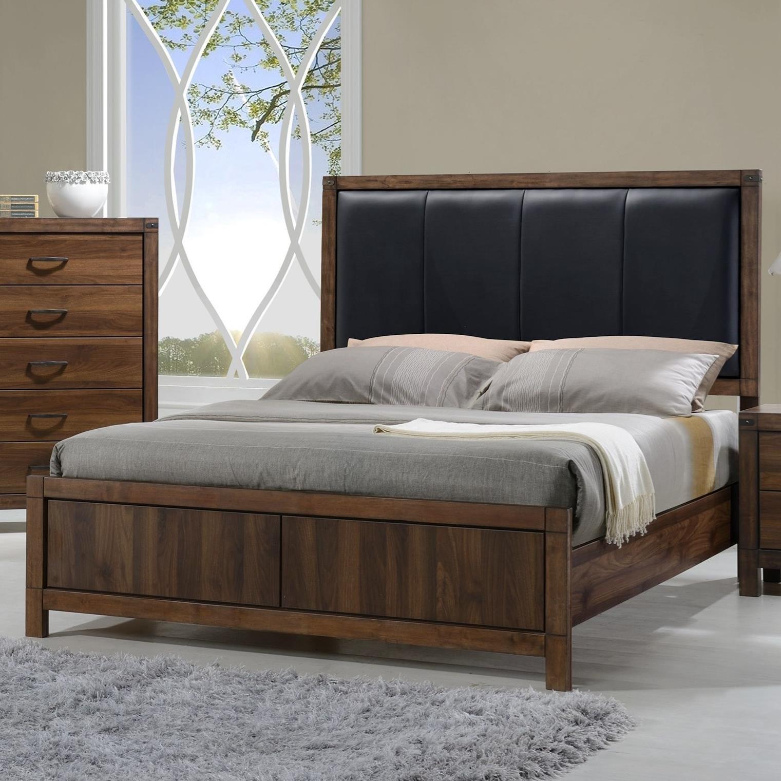 crown mark belmont king bed with upholstered headboard royal furniture headboard footboard. Black Bedroom Furniture Sets. Home Design Ideas