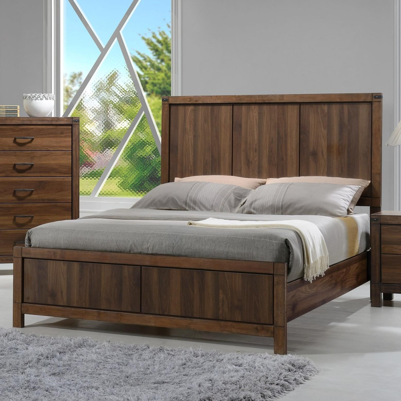 Crown mark belmont queen headboard and footboard panel bed for Queen size footboard