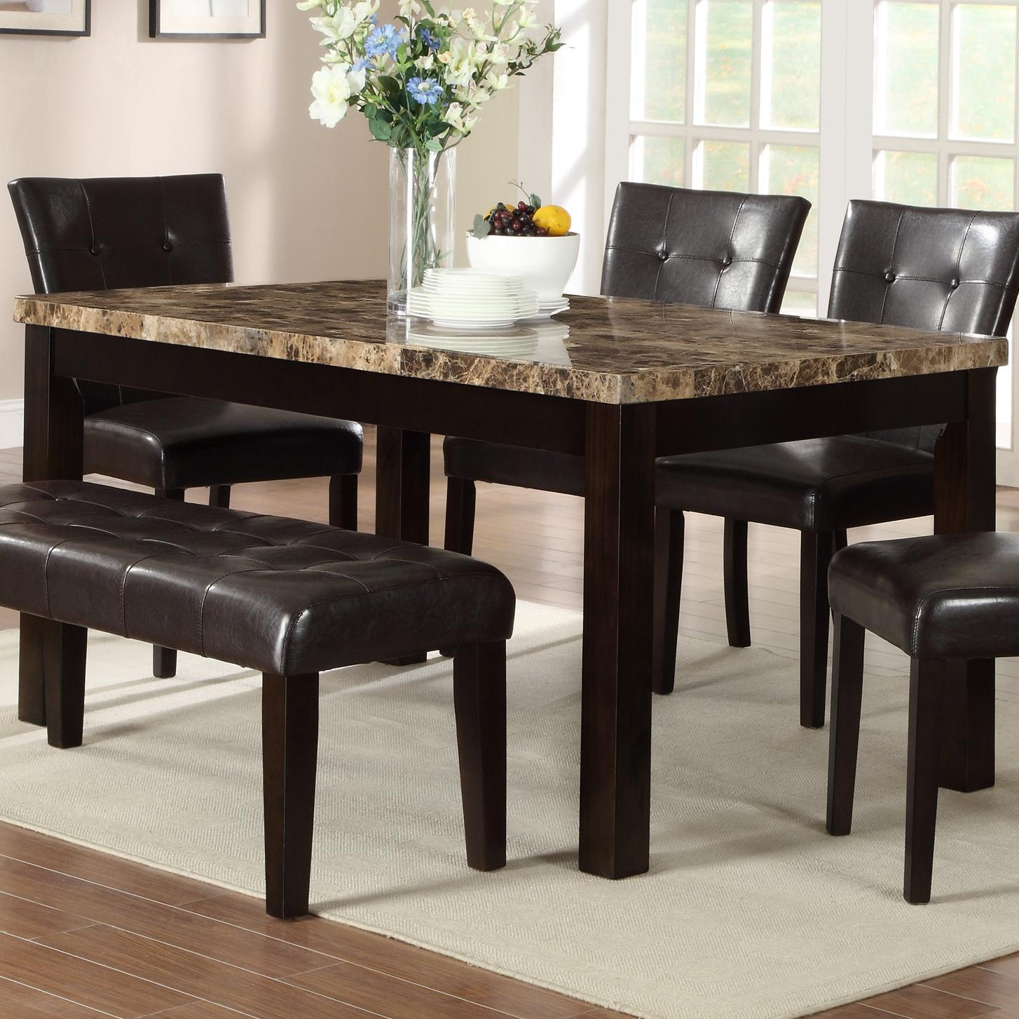 crown mark bruce 2267t 3864 rectangular dining table with faux marble top del sol furniture. Black Bedroom Furniture Sets. Home Design Ideas