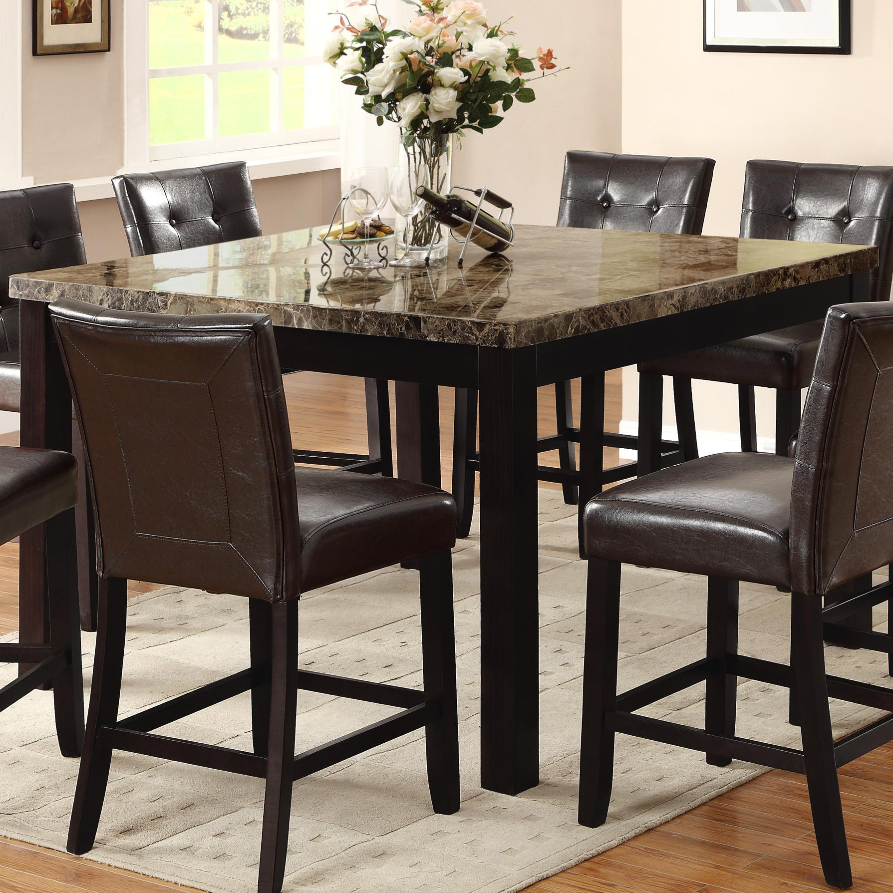 crown mark bruce 2767t 5454 square counter height table with faux marble top dunk bright. Black Bedroom Furniture Sets. Home Design Ideas
