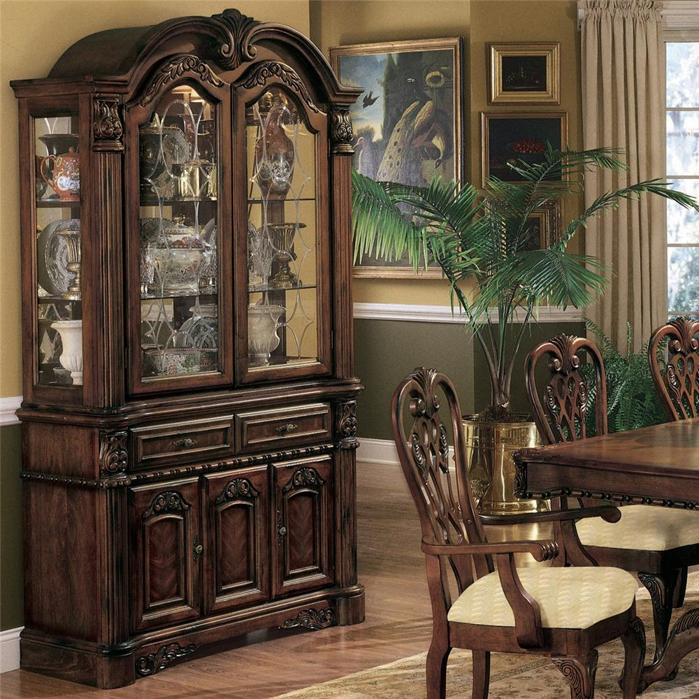Crown mark brussels buffet and hutch with two glass doors