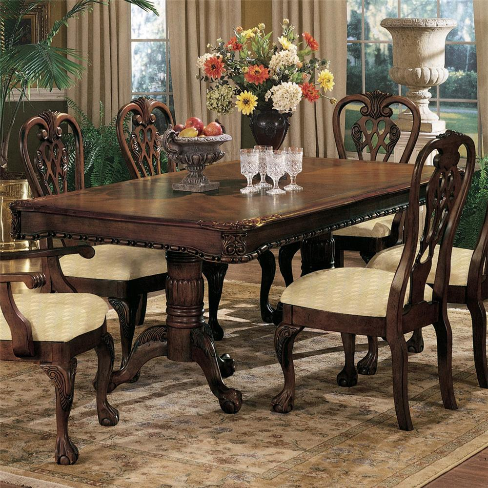 Crown mark brussels double pedestal dining table with two for Double t dining plan