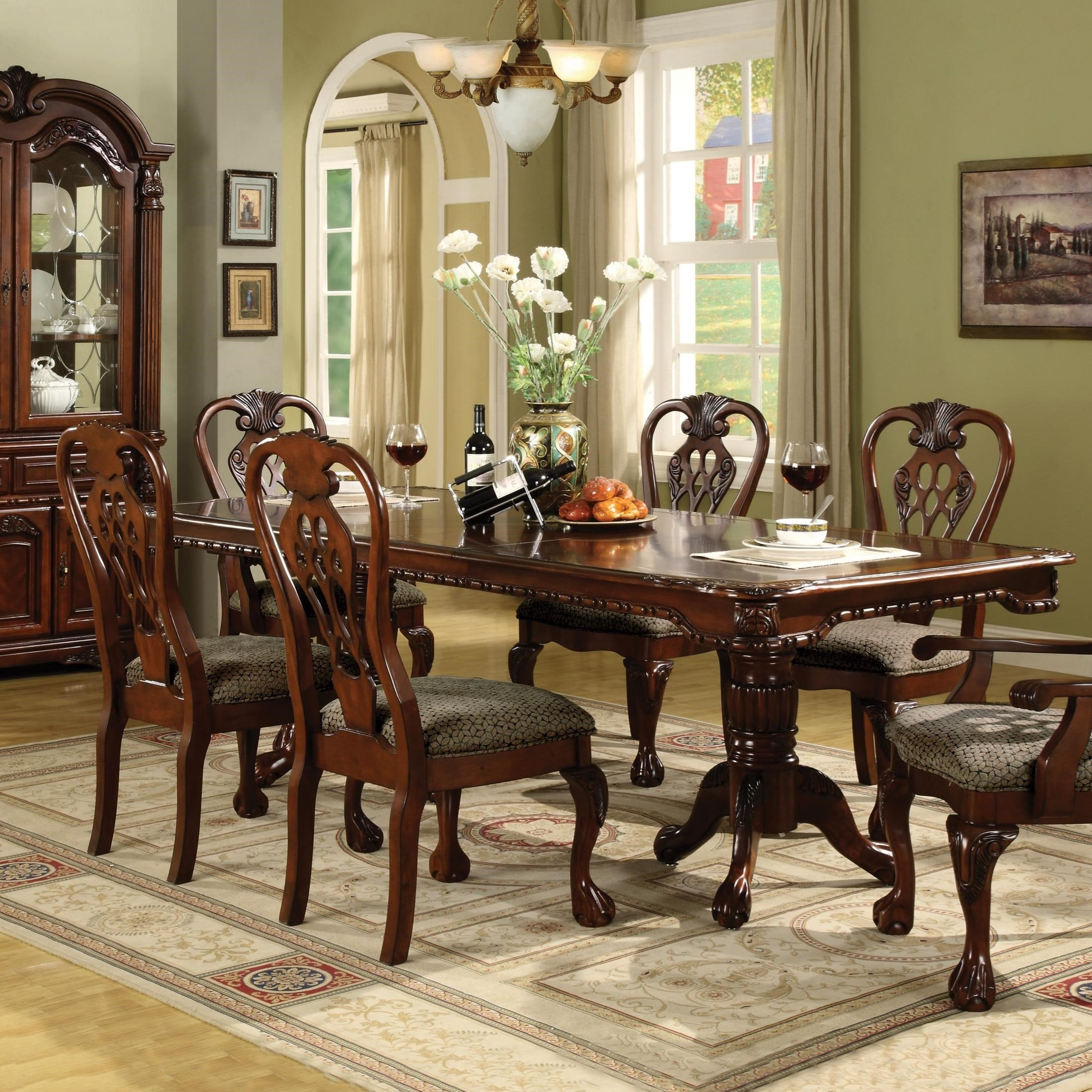 Crown mark brussels 2470t 4296 double pedestal dining for Double t dining plan