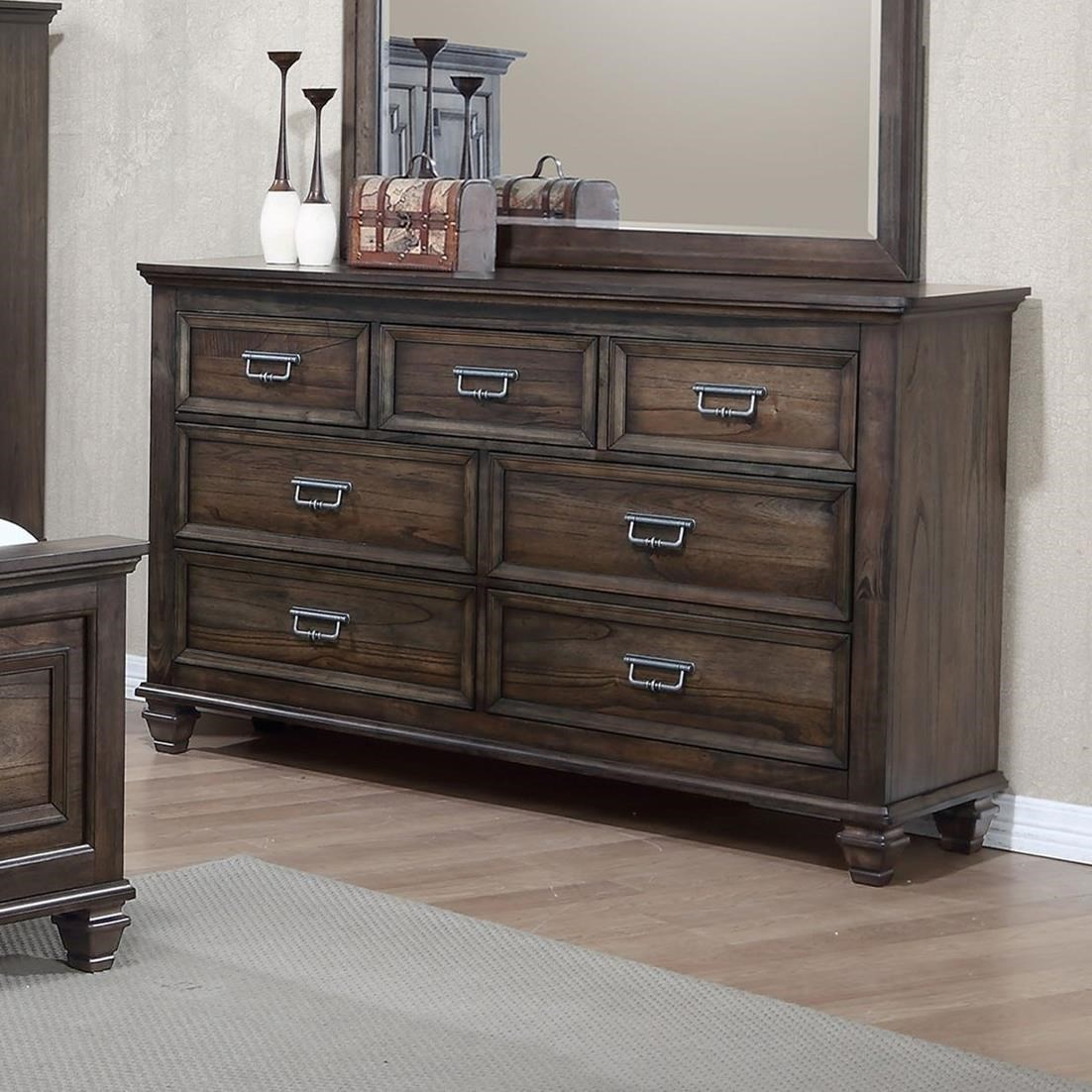 Crown mark campbell b8250 1 7 drawer dresser with modern for Furniture markup