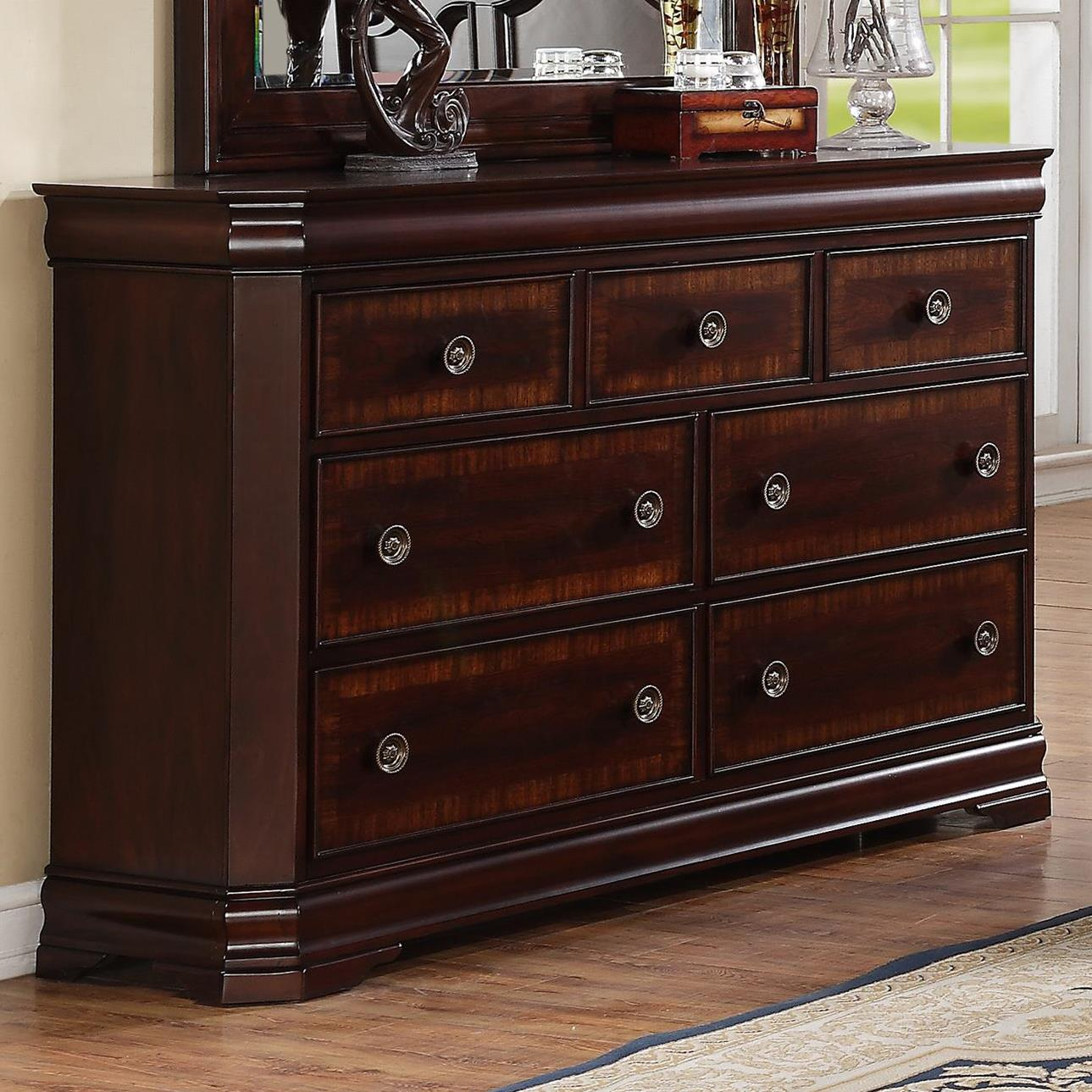 Crown mark charlotte b8300 1 7 drawer dresser dunk for Furniture markup