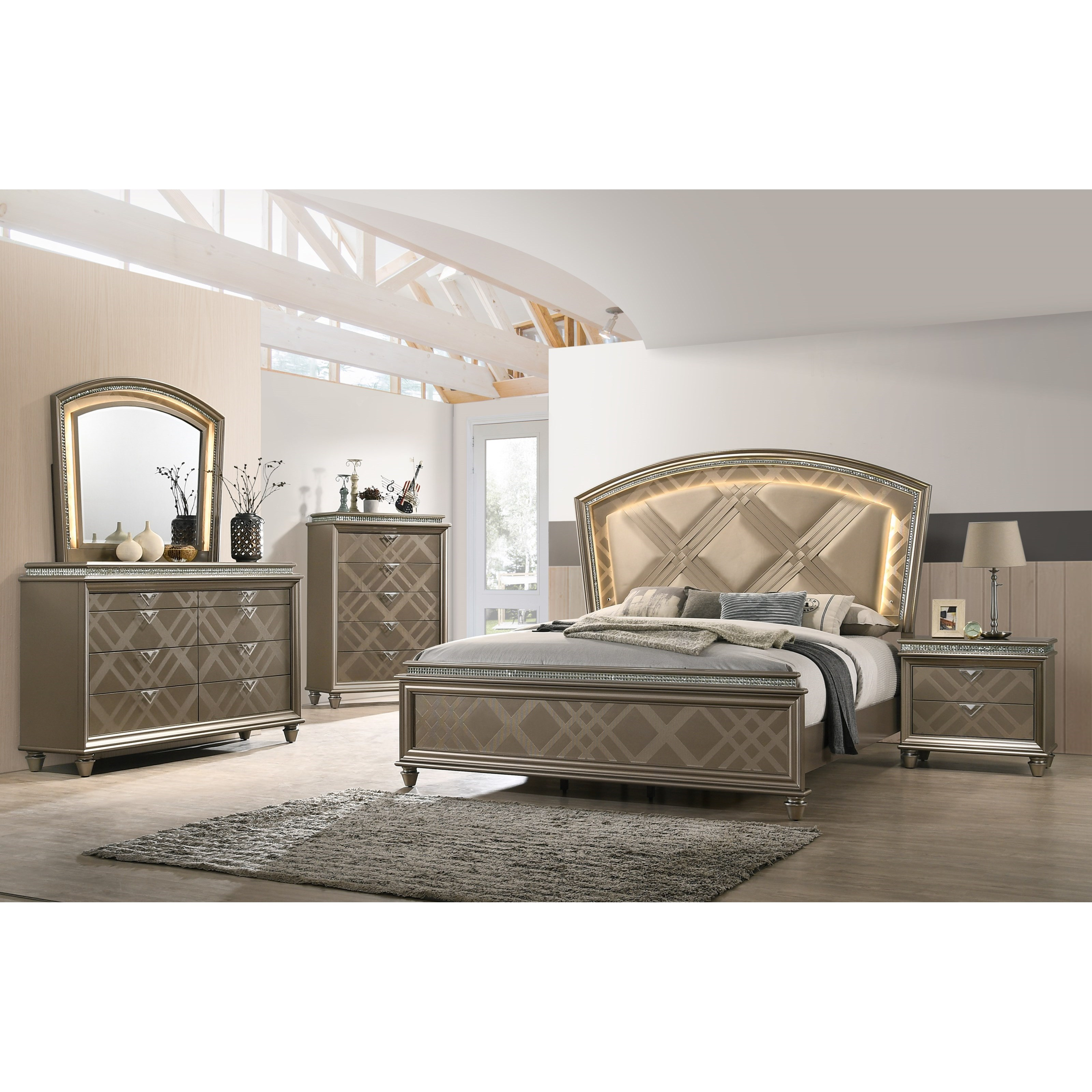 Cristal Queen Bedroom Group by Crown Mark at Northeast Factory Direct