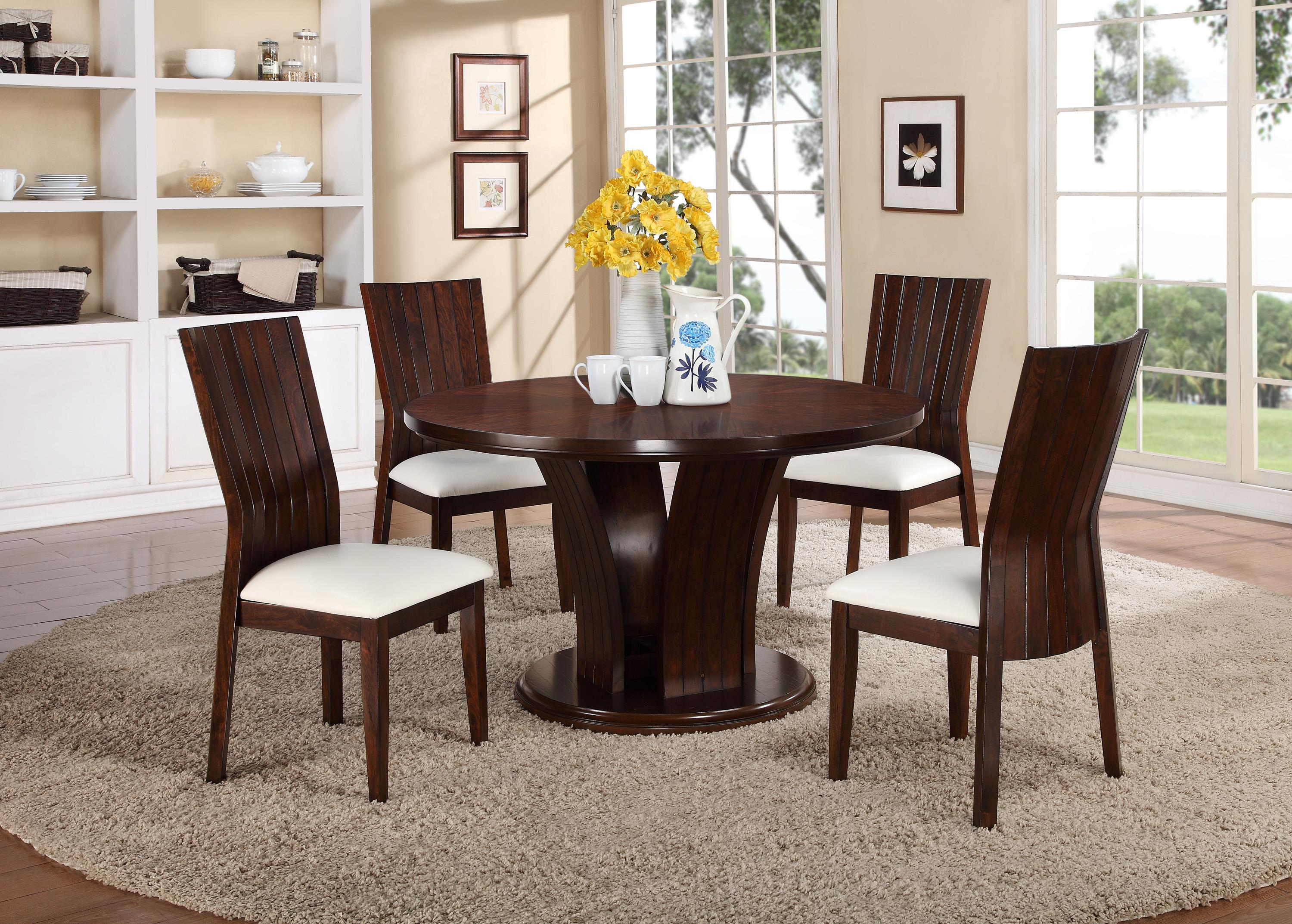 Crown mark daria 5 piece dining set with round pedestal for White chair dining set