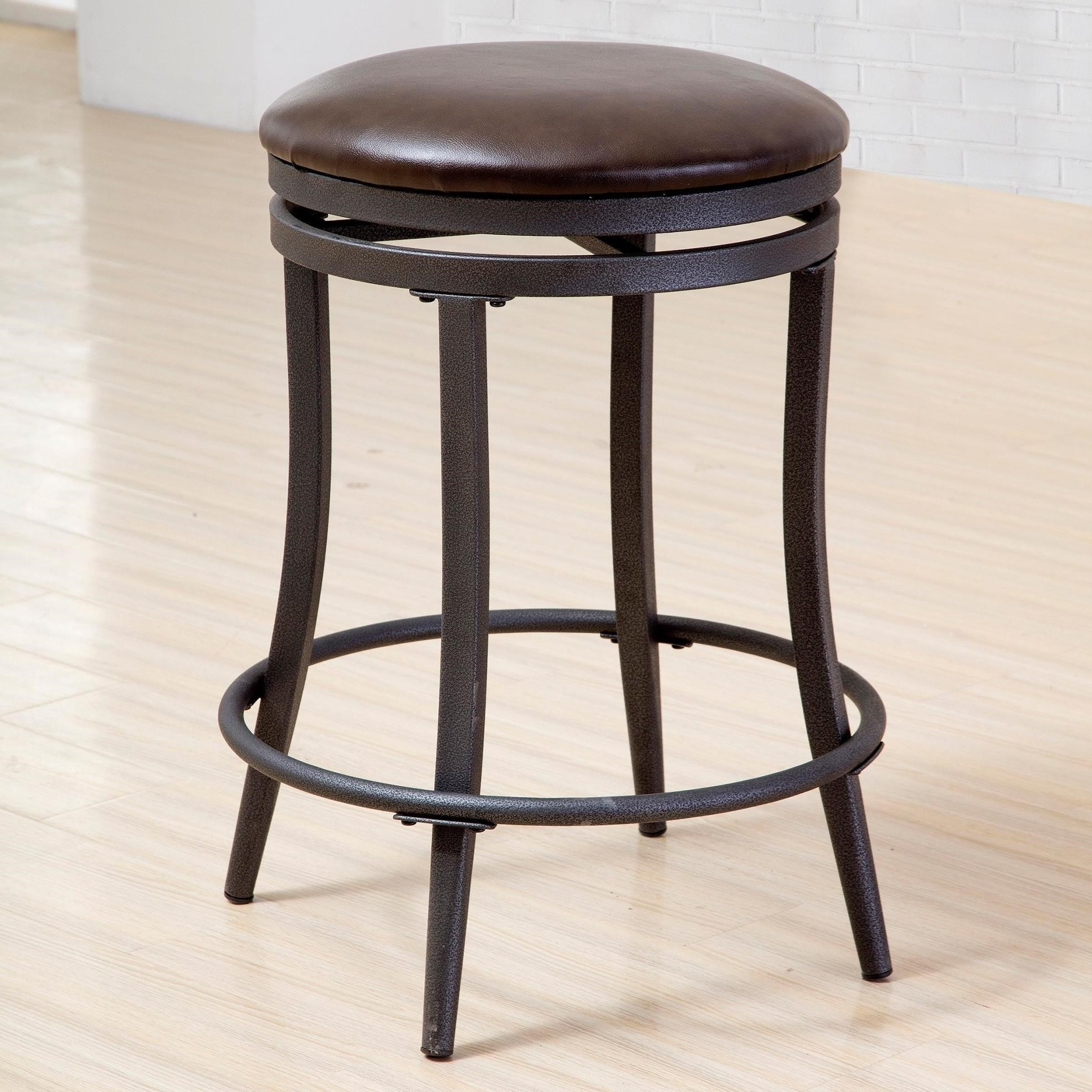 Crown Mark David Counter Height Swivel Stool With Metal