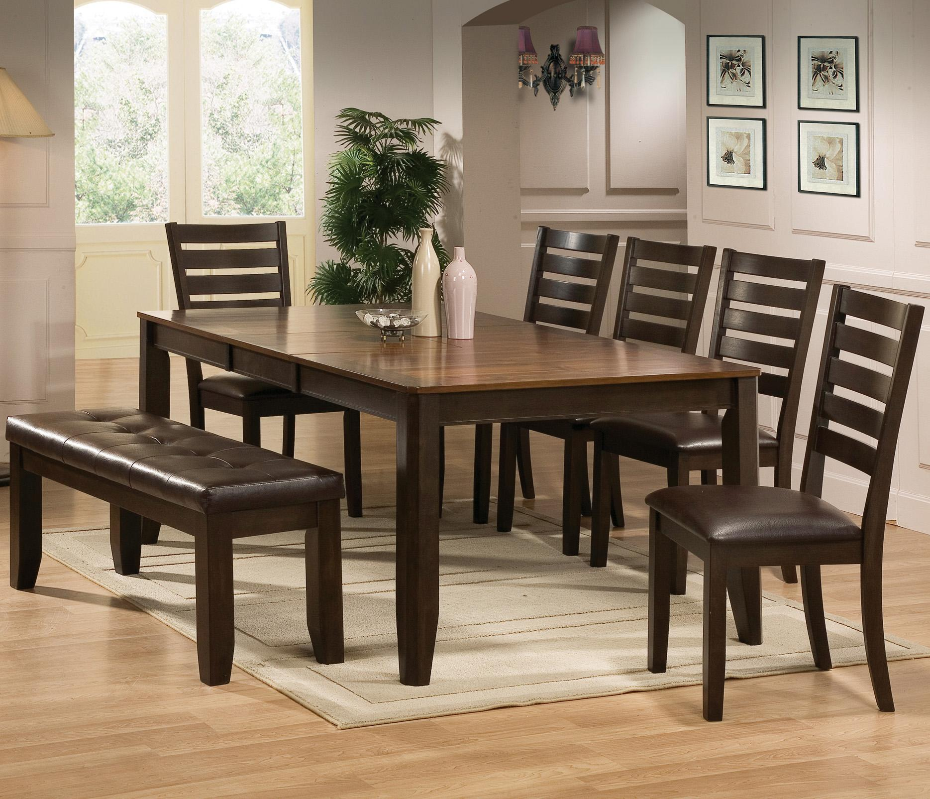 crown mark elliott 7 piece dining table and chairs set with bench dunk bright furniture. Black Bedroom Furniture Sets. Home Design Ideas