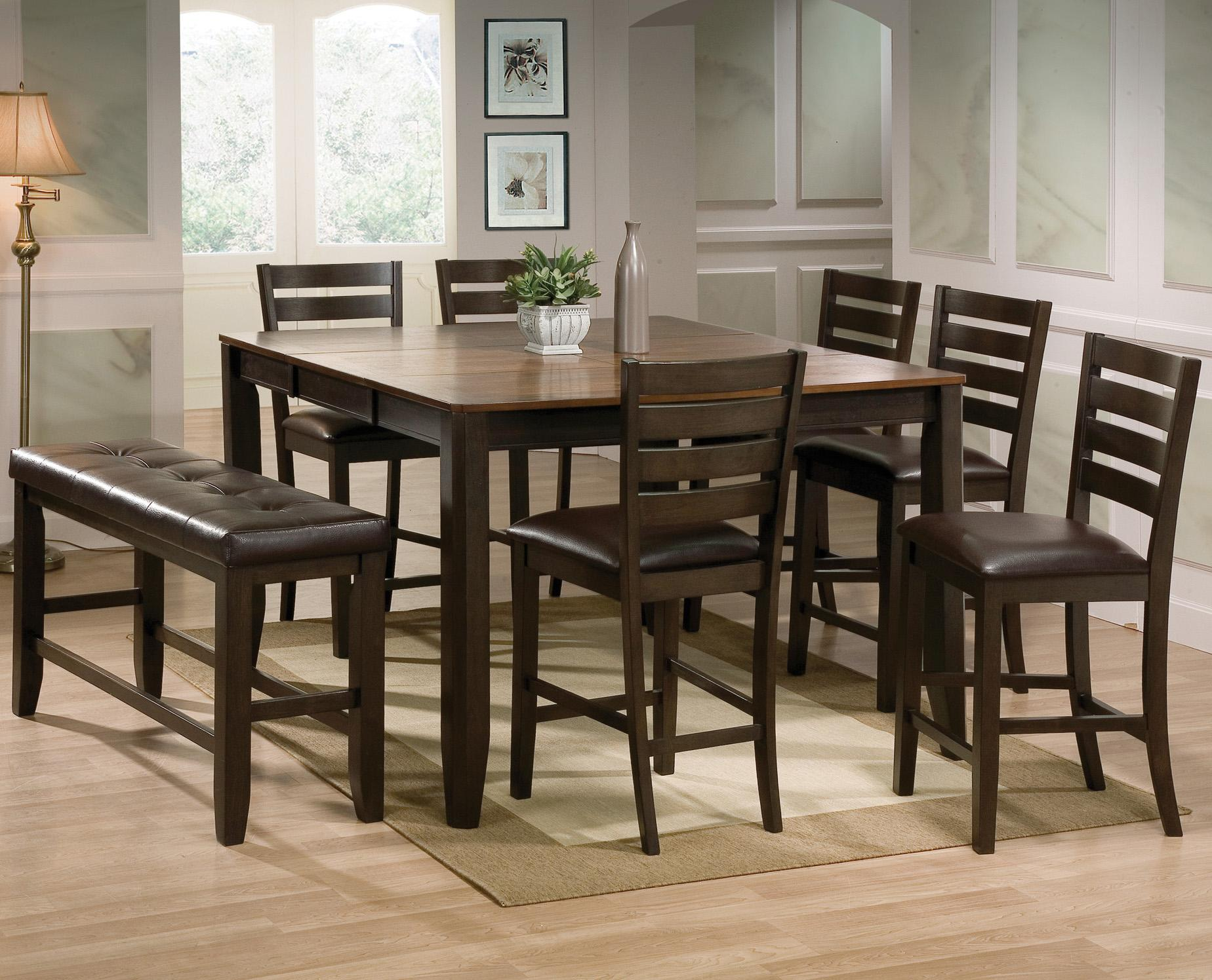 crown mark elliott 8 piece counter height table and chairs with bench set del sol furniture. Black Bedroom Furniture Sets. Home Design Ideas