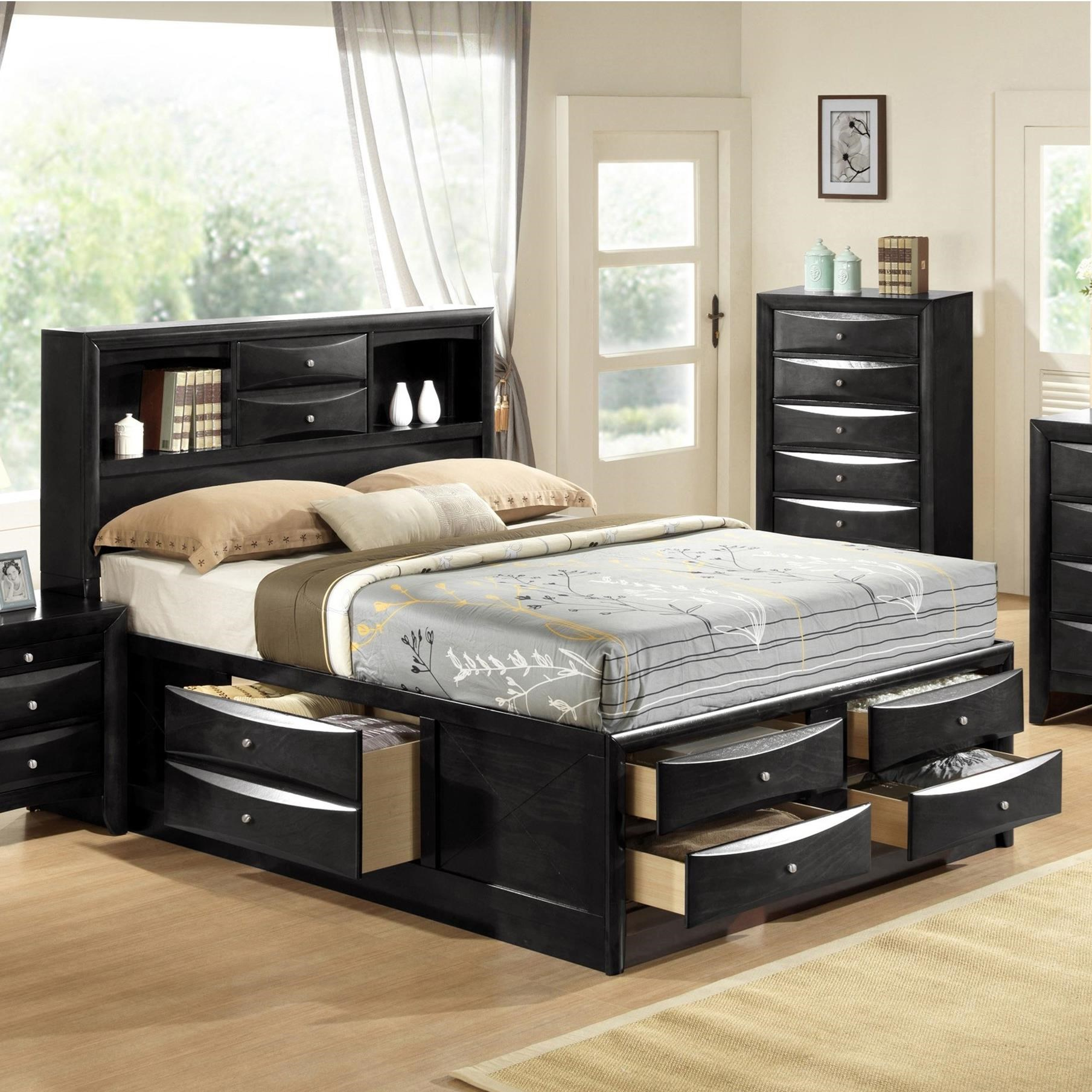 Emily Queen Captain's Bed by Crown Mark at A1 Furniture & Mattress