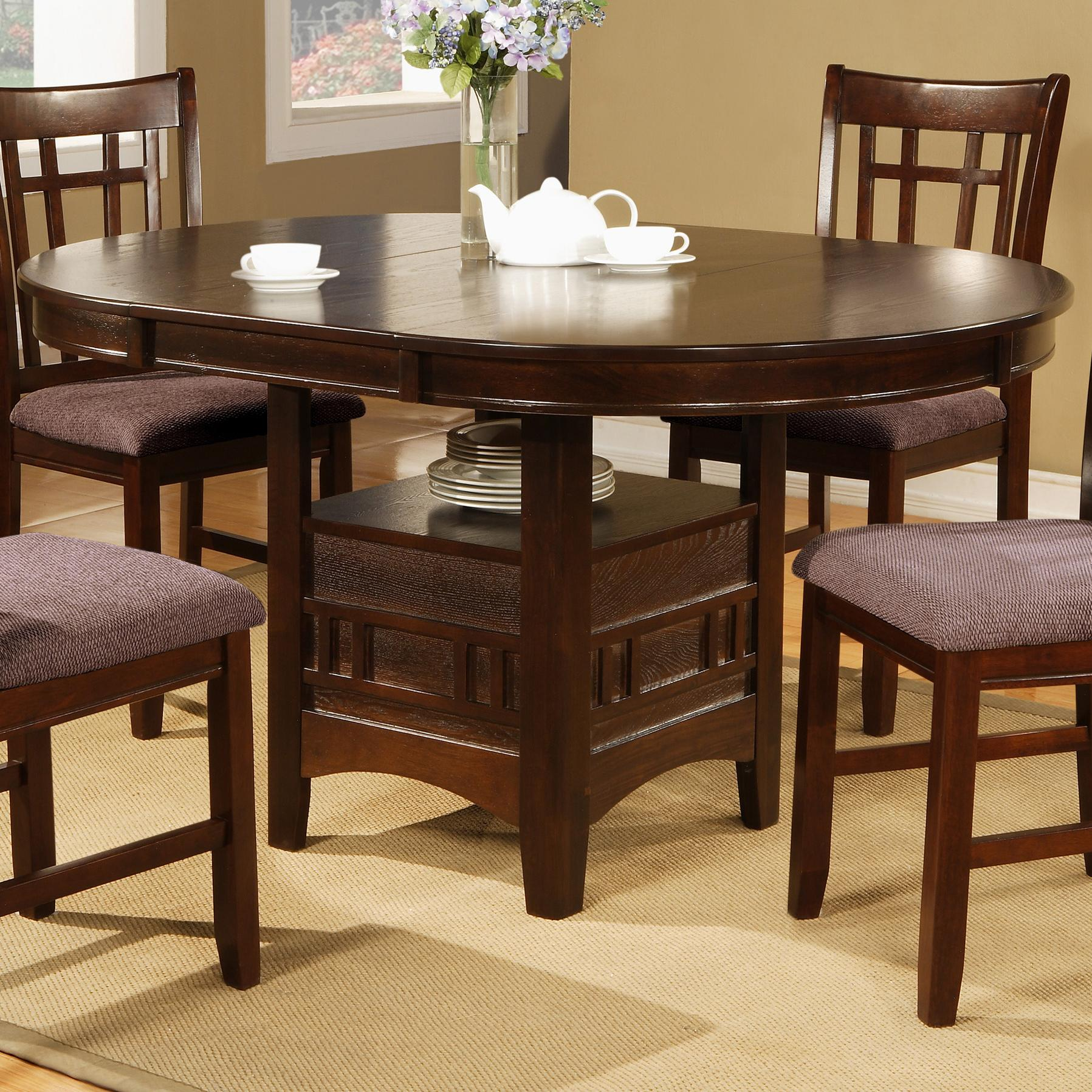Crown mark empire round dining table with 18 leaf del for Furniture markup