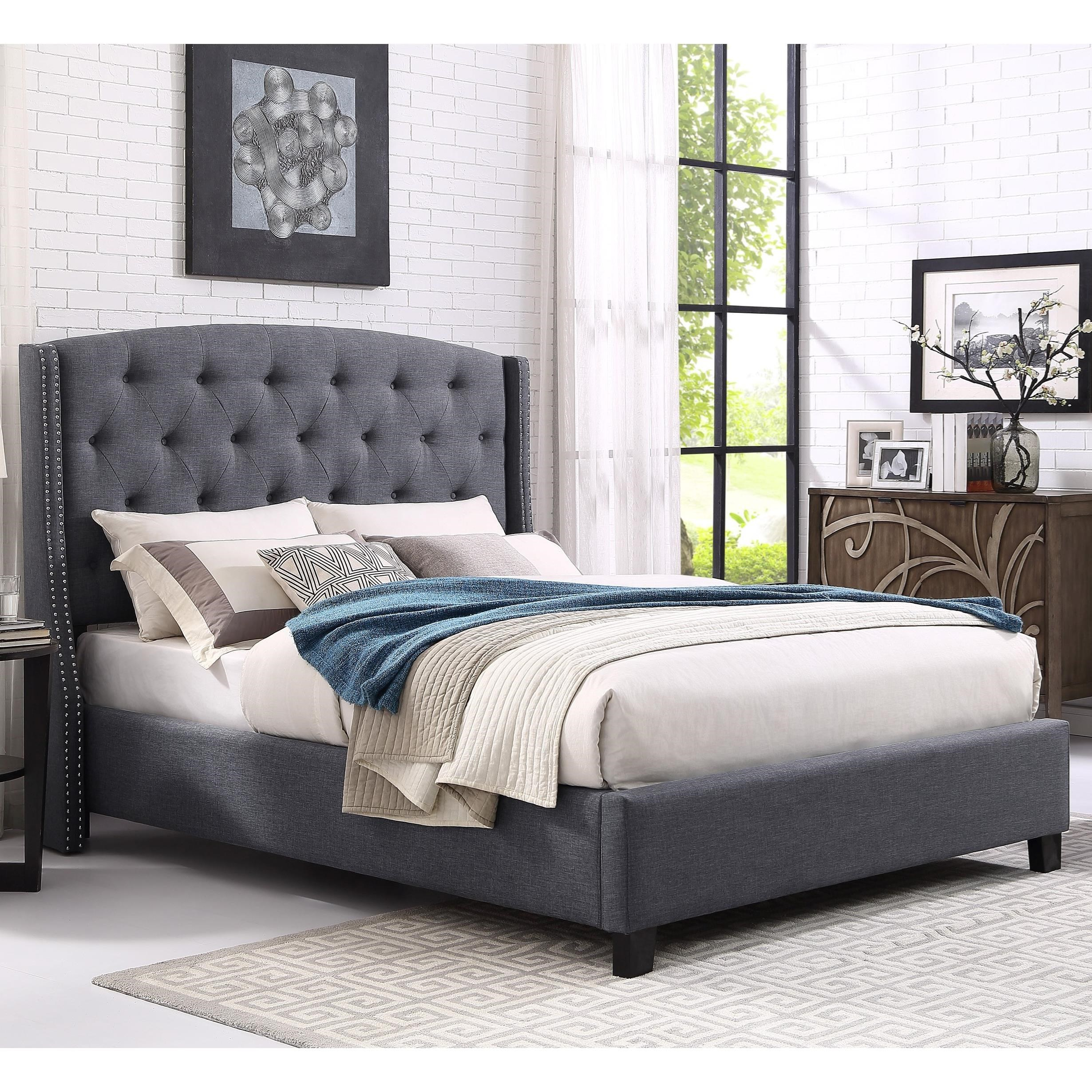 Eva Upholstered King Bed by Crown Mark at Northeast Factory Direct