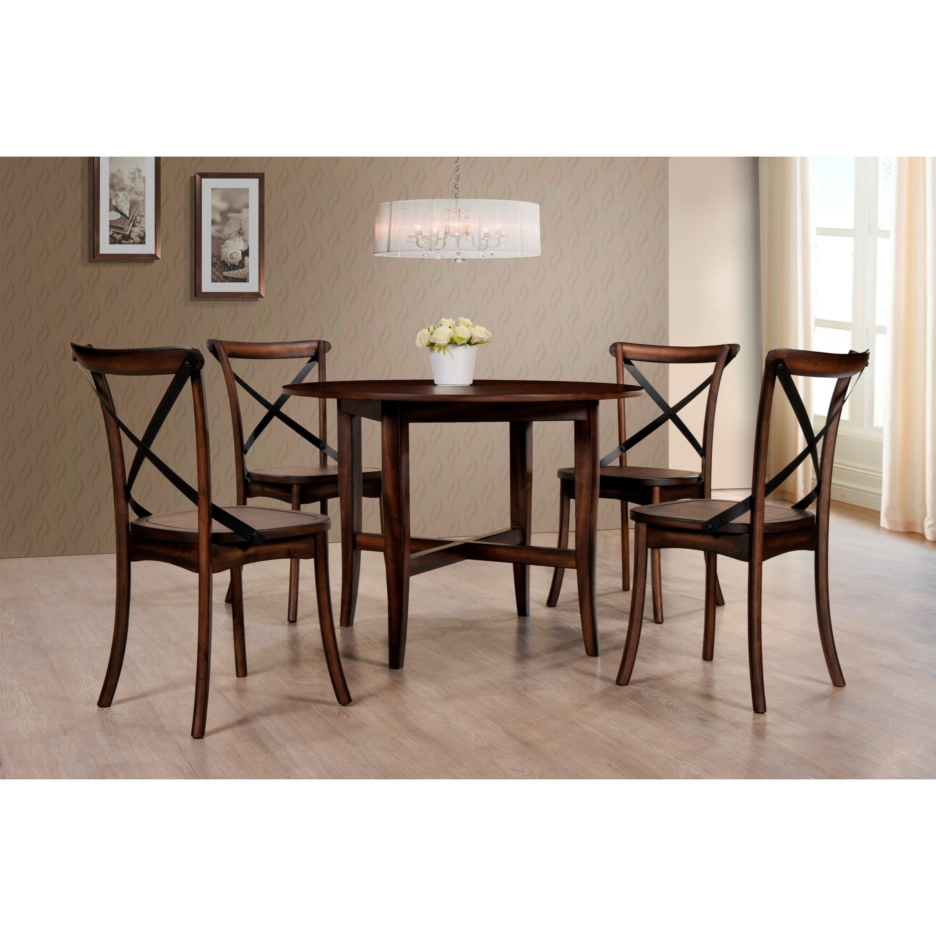Crown mark farris 2285t 48 dining round table with for Dining table support