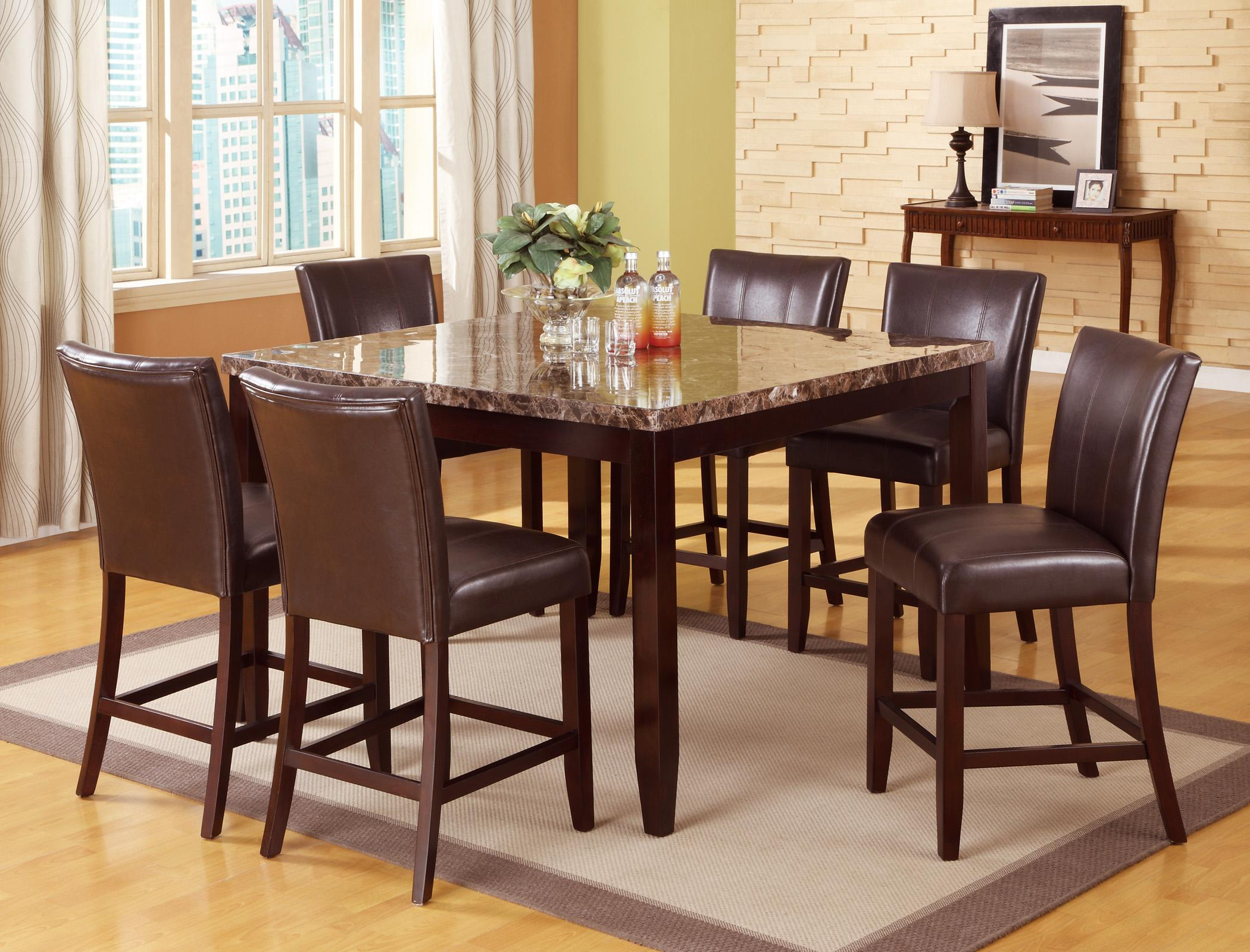 crown mark ferrara 7 piece pub table and counter height chairs set dunk bright furniture. Black Bedroom Furniture Sets. Home Design Ideas