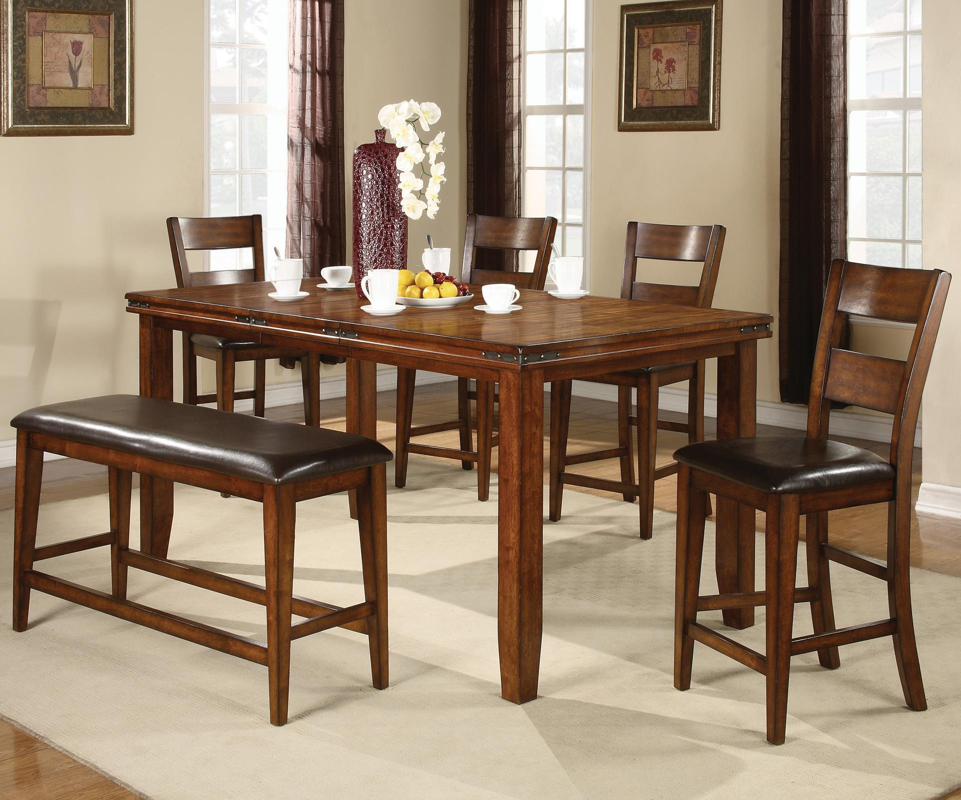 crown mark figaro 6 piece counter height table and chairs set with bench del sol furniture. Black Bedroom Furniture Sets. Home Design Ideas