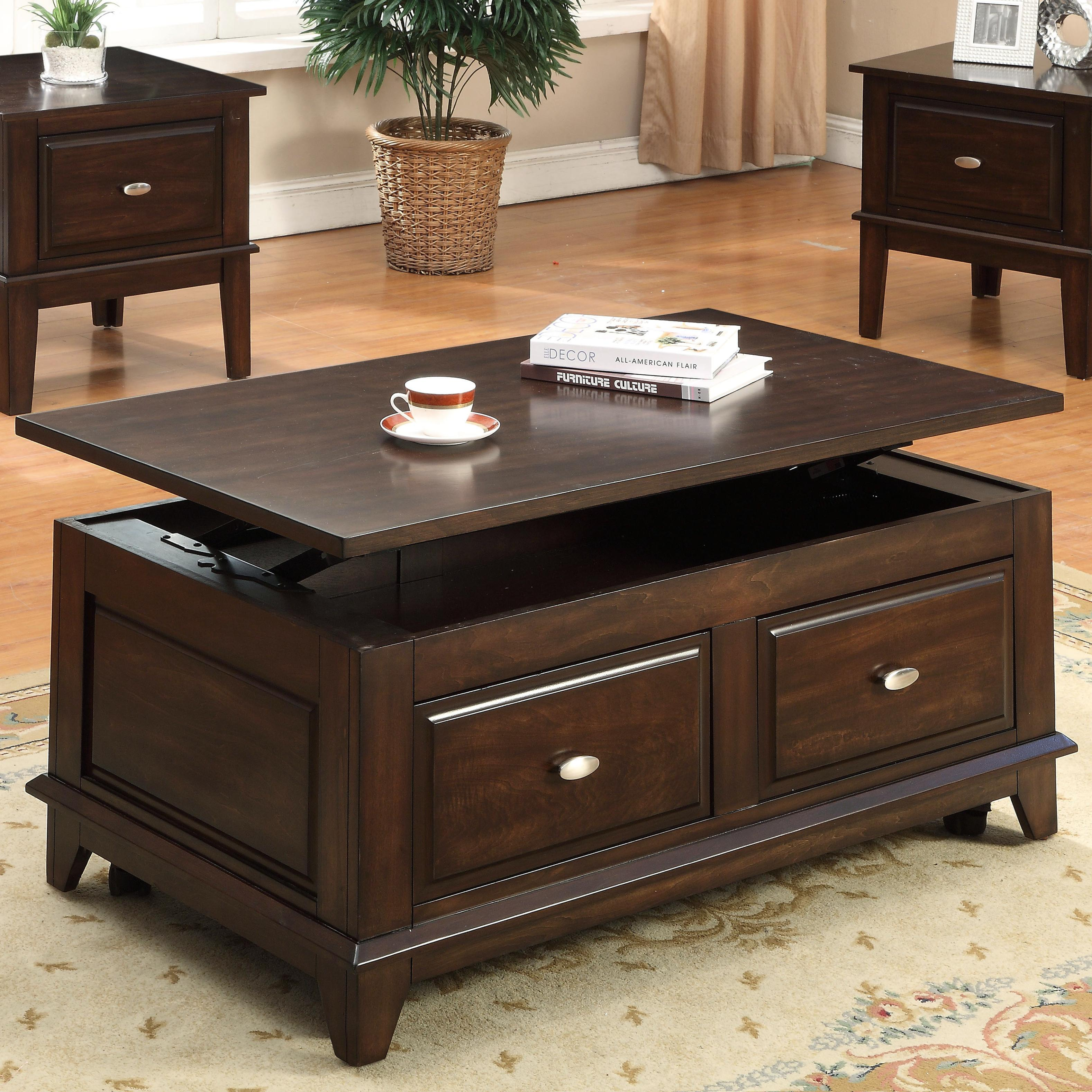 Crown Mark Harmon Lift Top Coffee Table With Casters