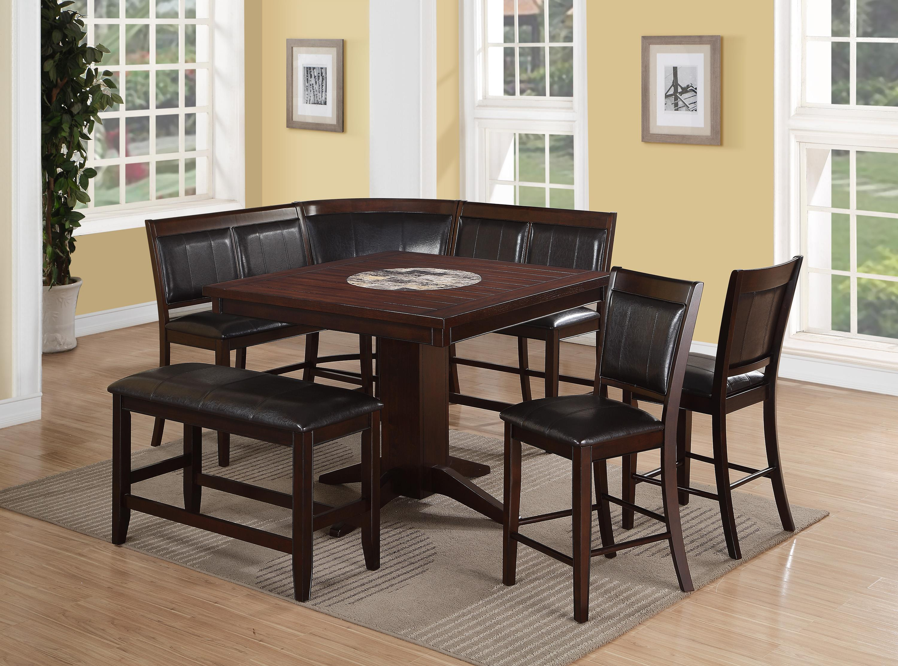 Crown mark harrison 7 piece counter height dining set with for 7 piece dining set with bench
