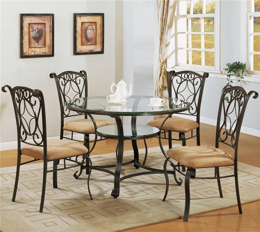 Crown Mark Jessica Dinette Table With Glass Top And Side
