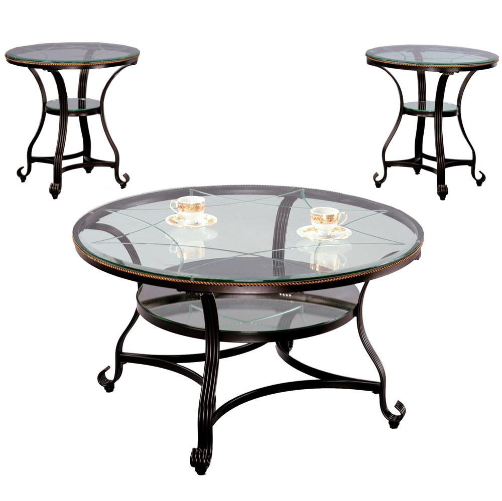 Crown mark jessica cocktail table with glass top and glass for Markup table